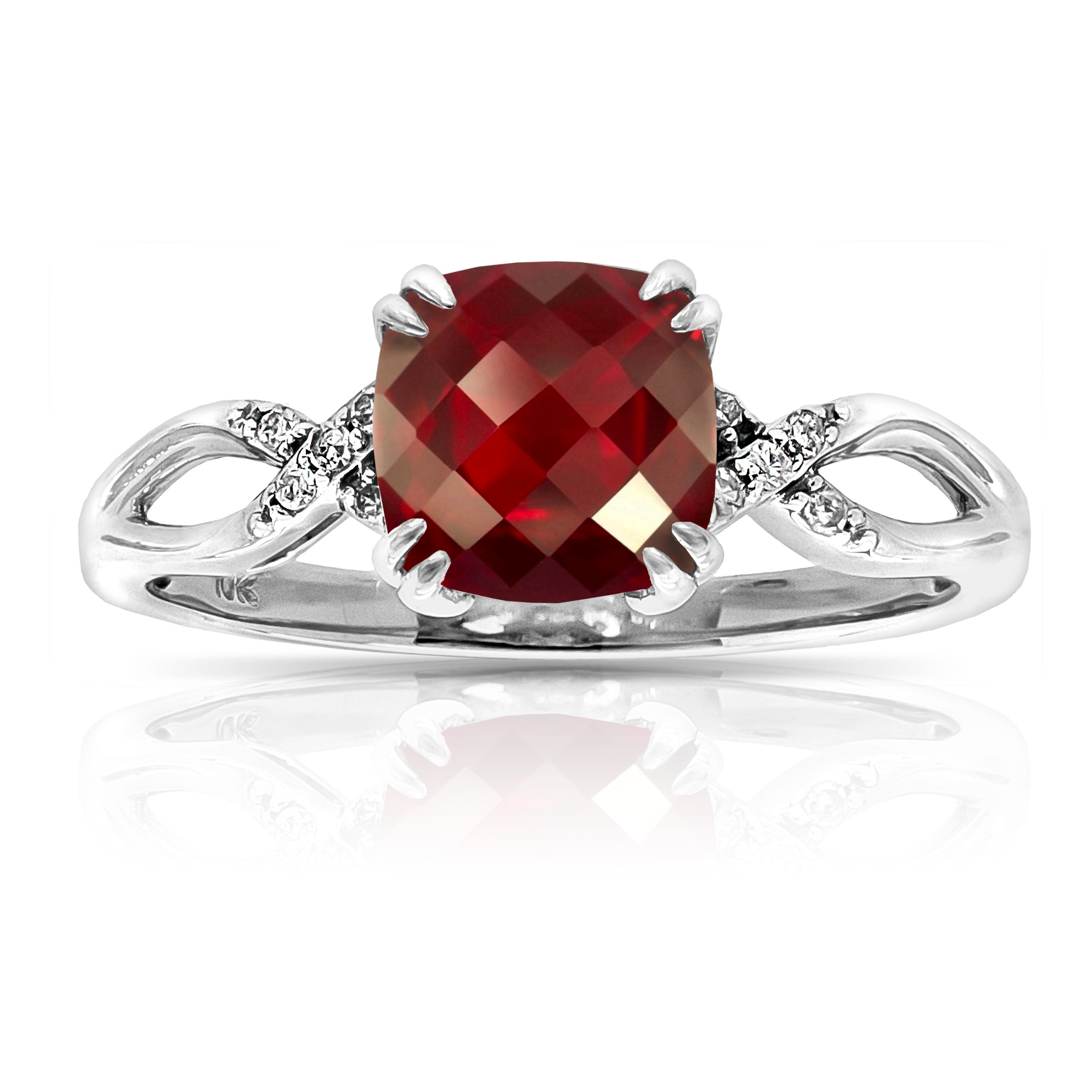 Ruby Created Cushion-Shape Twist Shank Ring in 10k White Gold