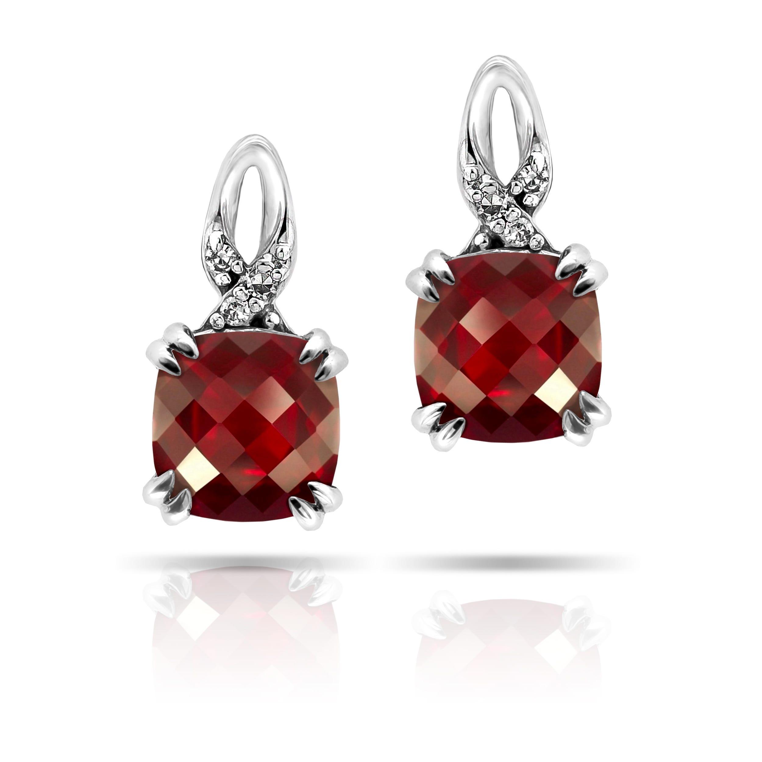 Ruby Created Cushion-Shape Twist Drop Earrings in 10k White Gold