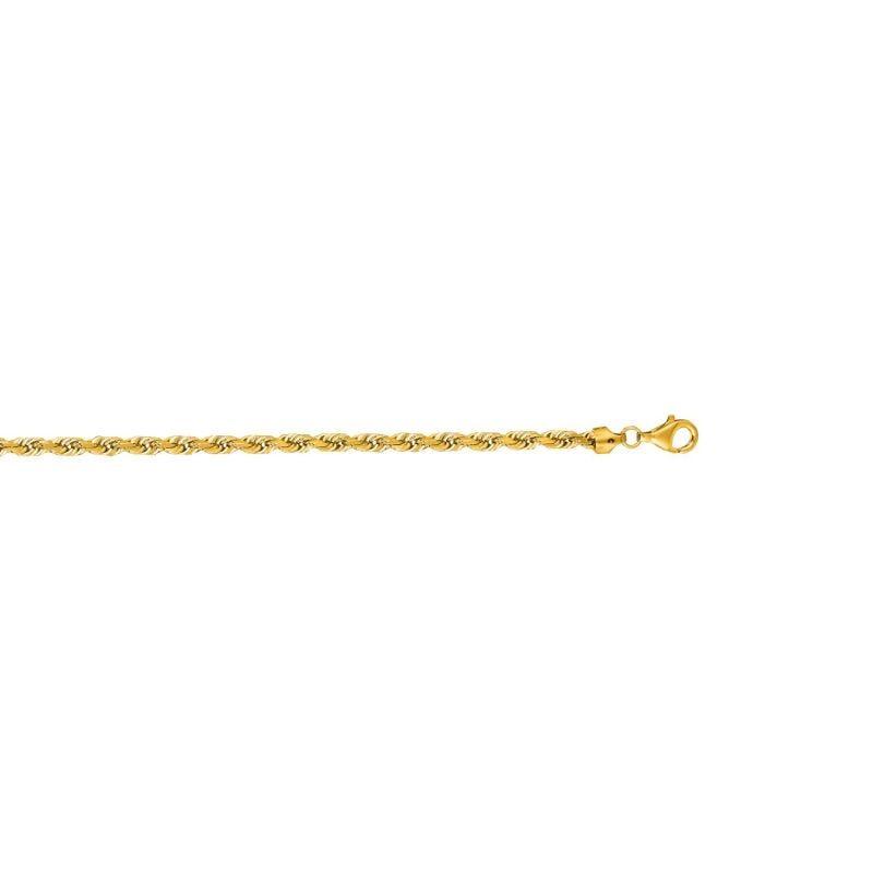 b955f5d4c Men's Diamond Cut Solid Rope Chain Bracelet 5mm in 10k Yellow Gold