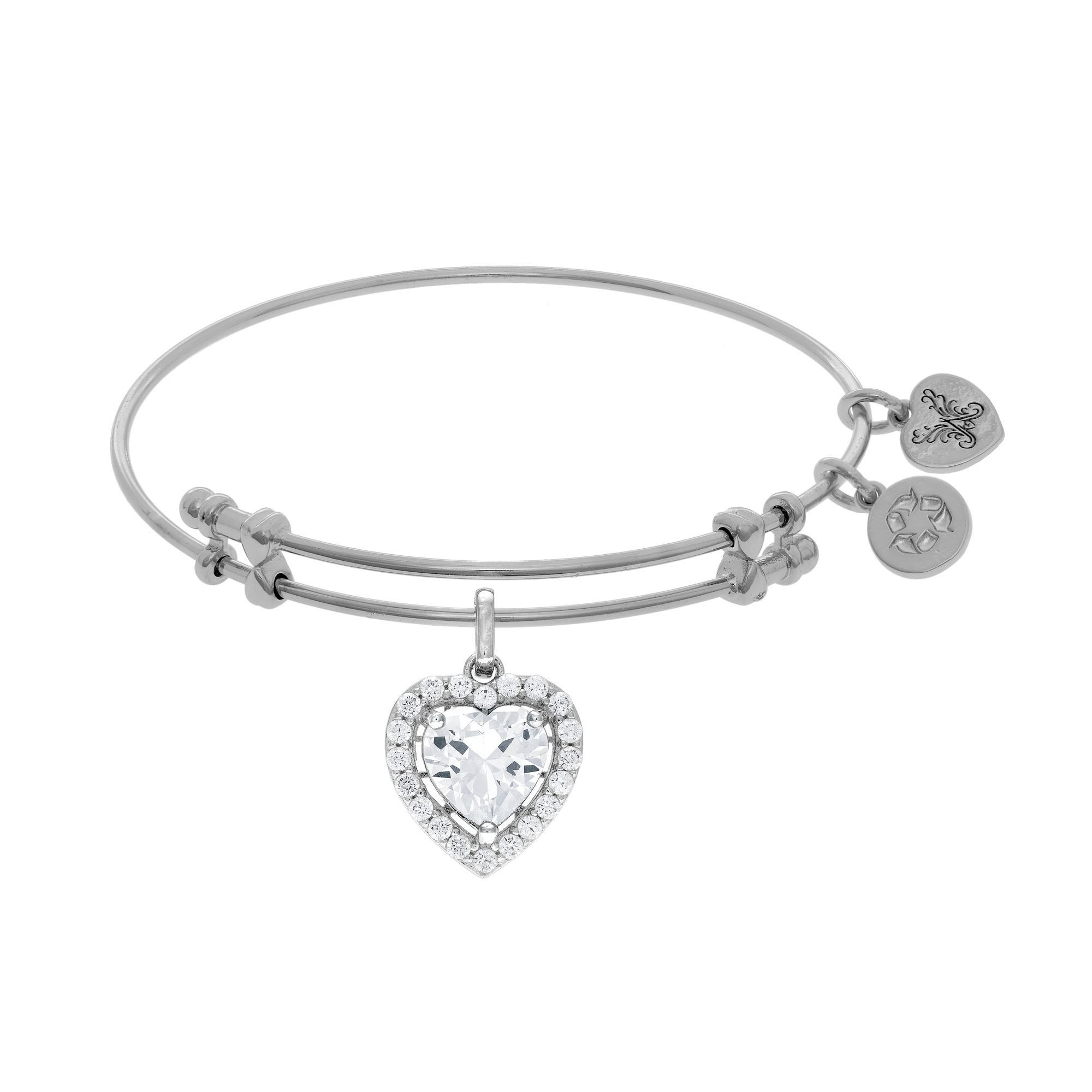 CZ Heart Halo Charm Bangle Bracelet in White Brass