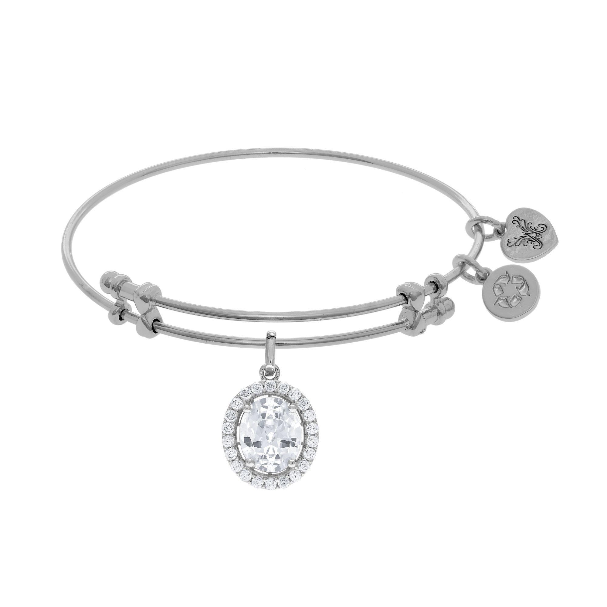 Oval CZ Dangle Charm Bangle Bracelet in White Brass