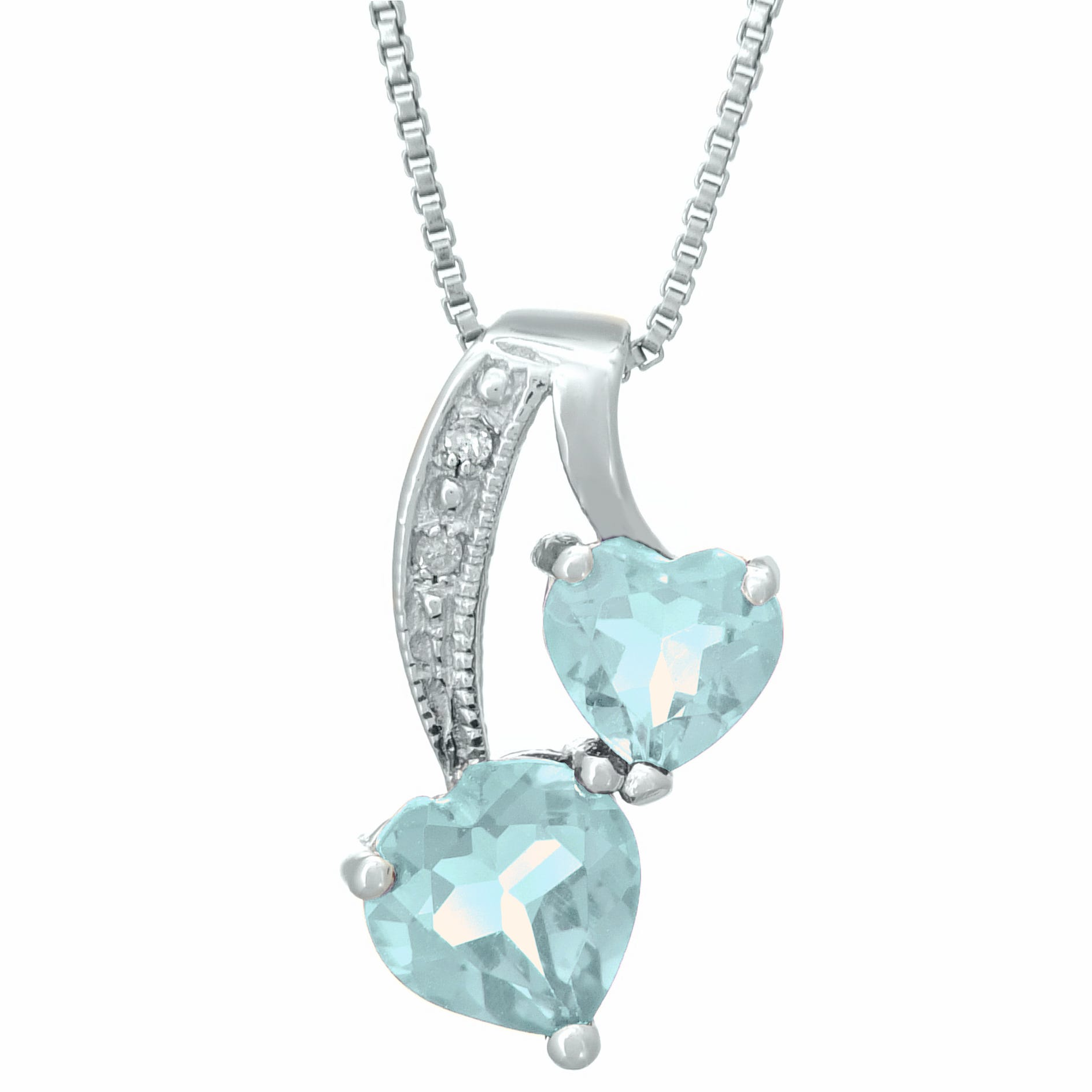 Heart Created Aquamarine Diamond Sterling Silver Pendant 18