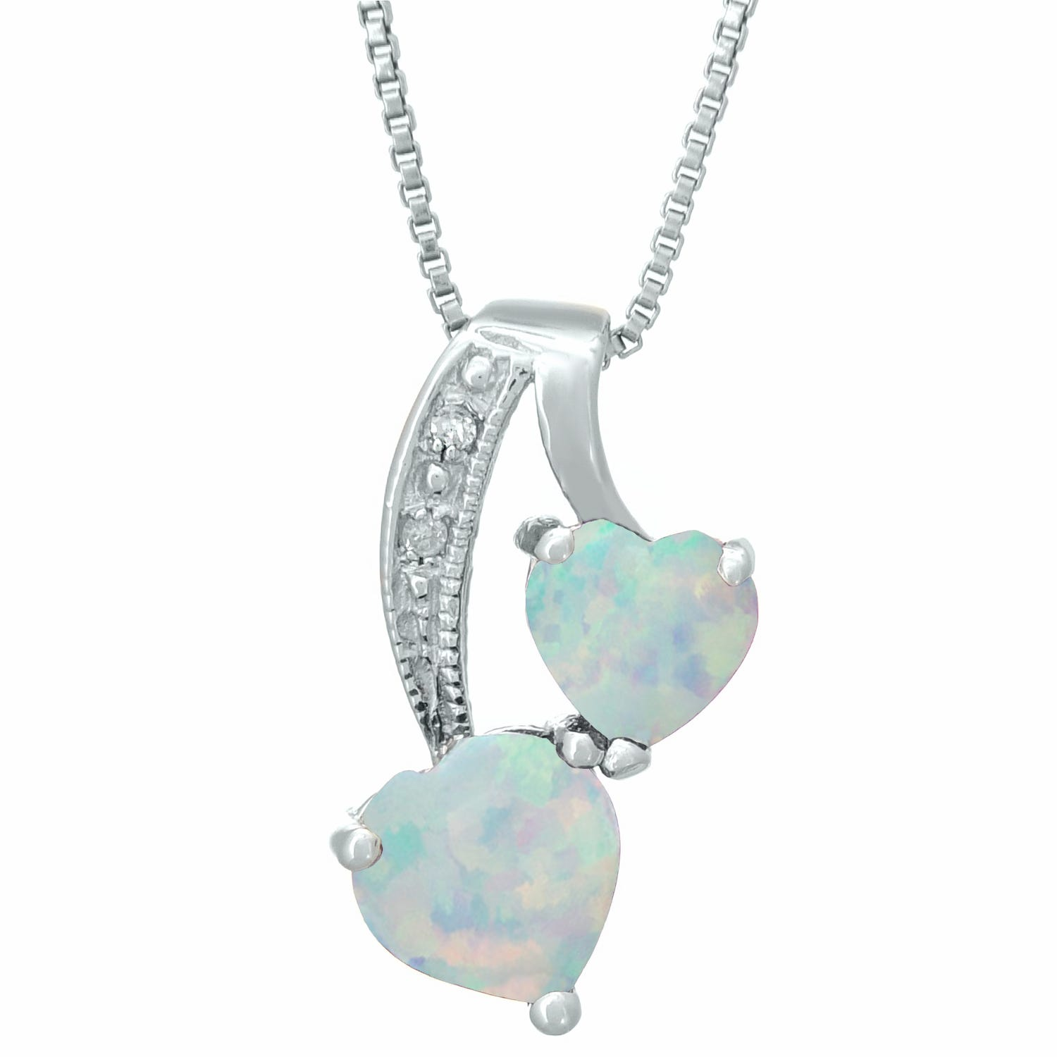 Heart Created Opal Diamond Sterling Silver Pendant