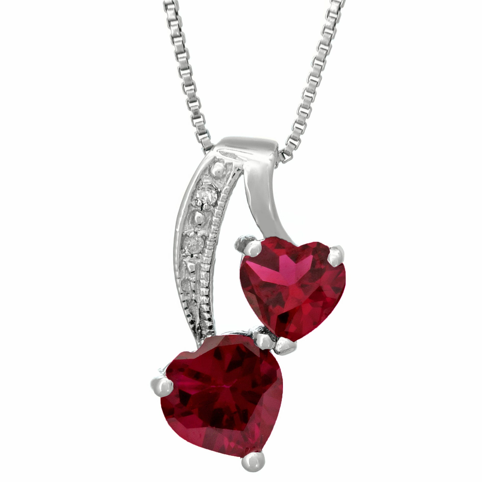 Heart Created Ruby Diamond Sterling Silver Pendant 18