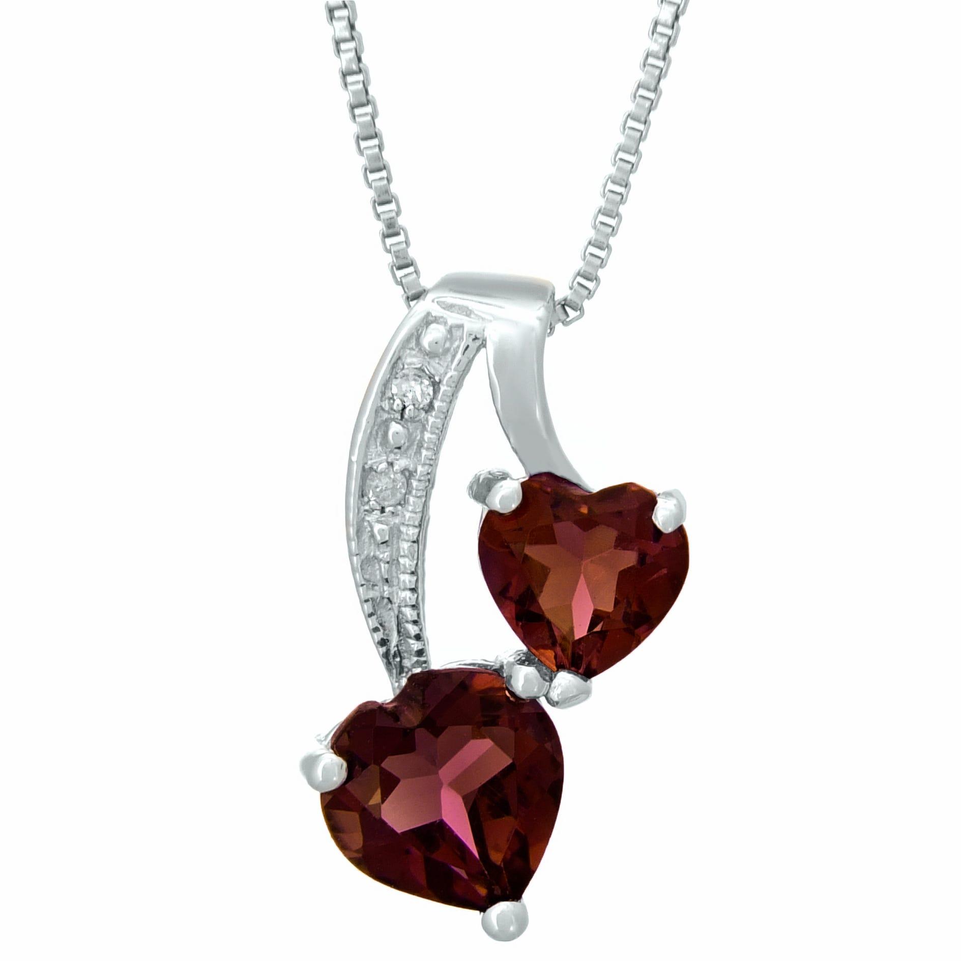 Heart Genuine Garnet Diamond Sterling Silver Pendant 18
