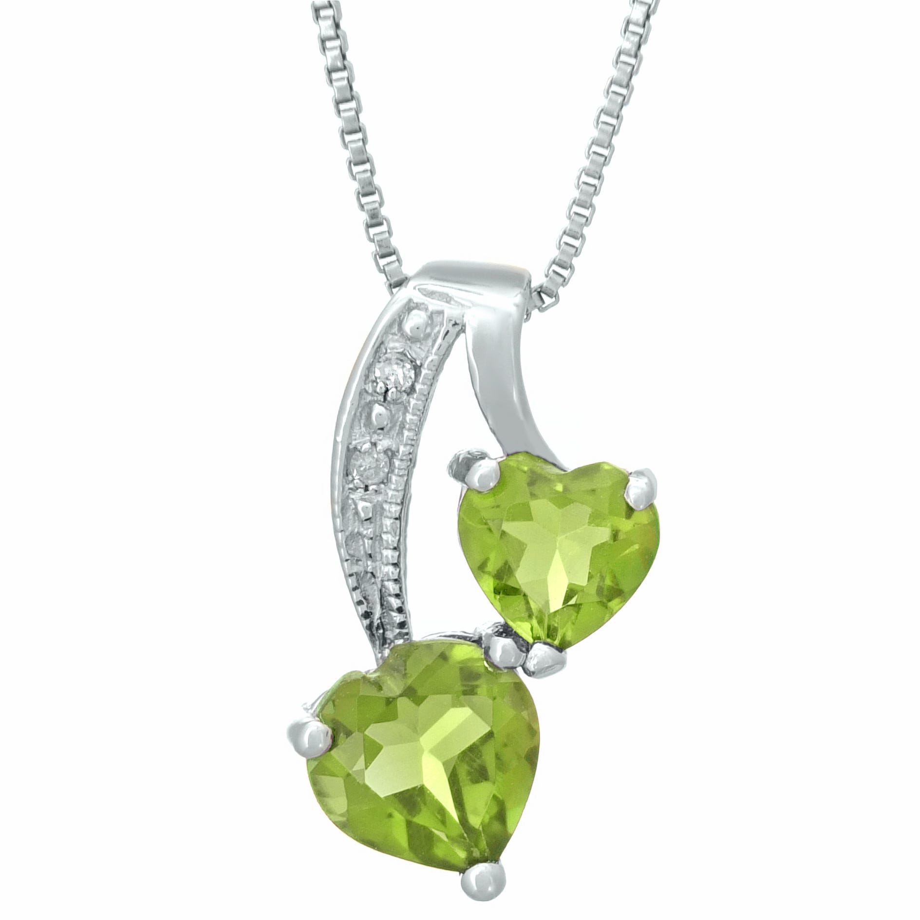 Heart Genuine Peridot Diamond Sterling Silver Pendant 18