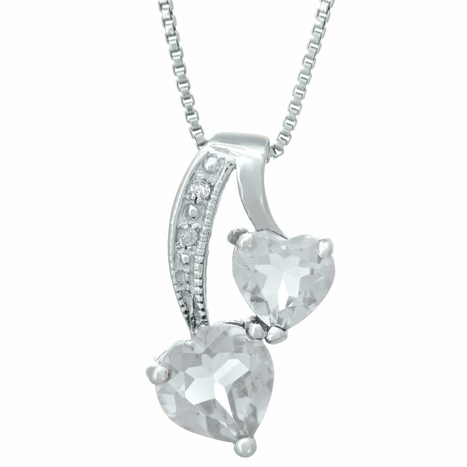 Heart Genuine White Topaz Diamond Sterling Silver Pendant 18