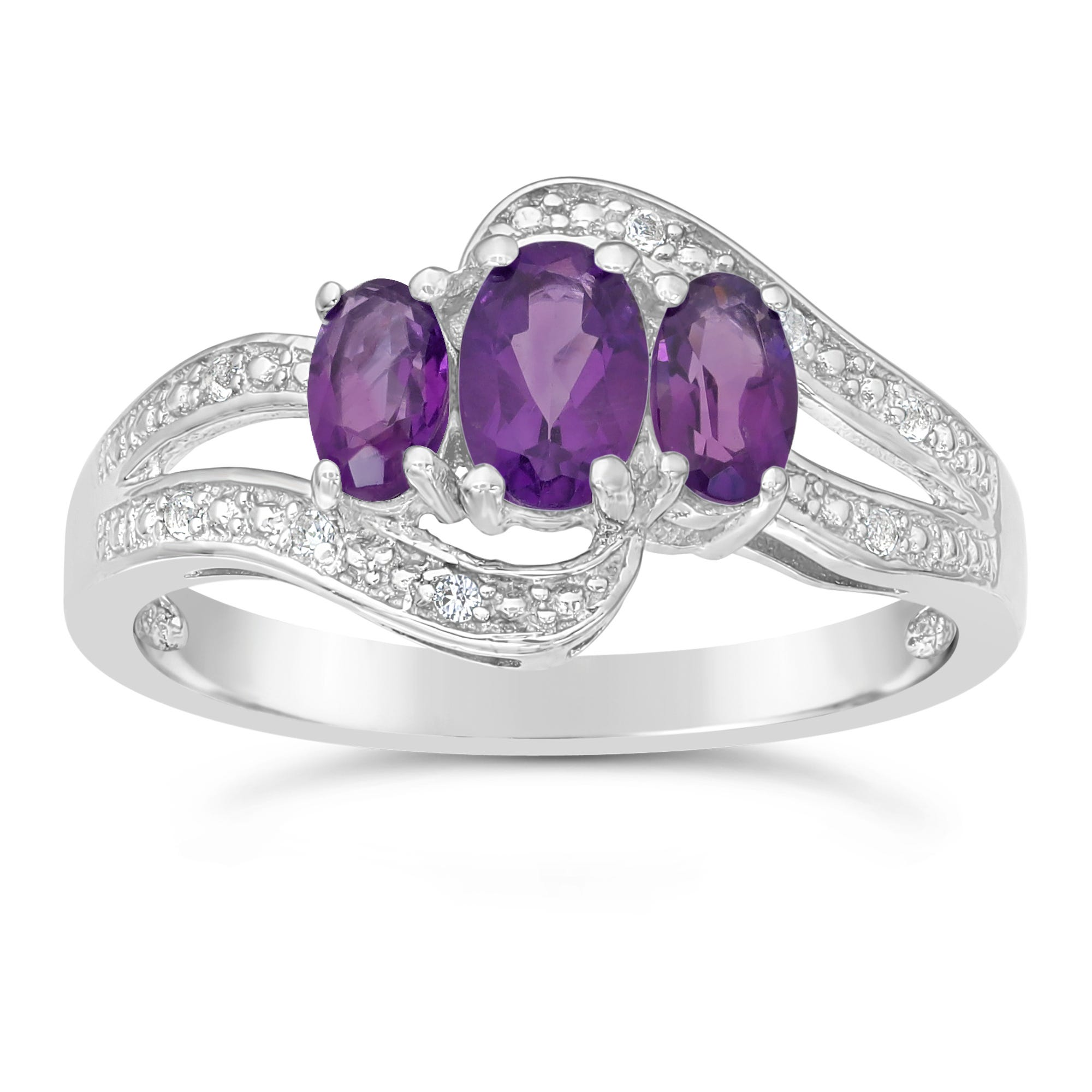 Triple Oval Amethyst and White Topaz Ring in Sterling Silver
