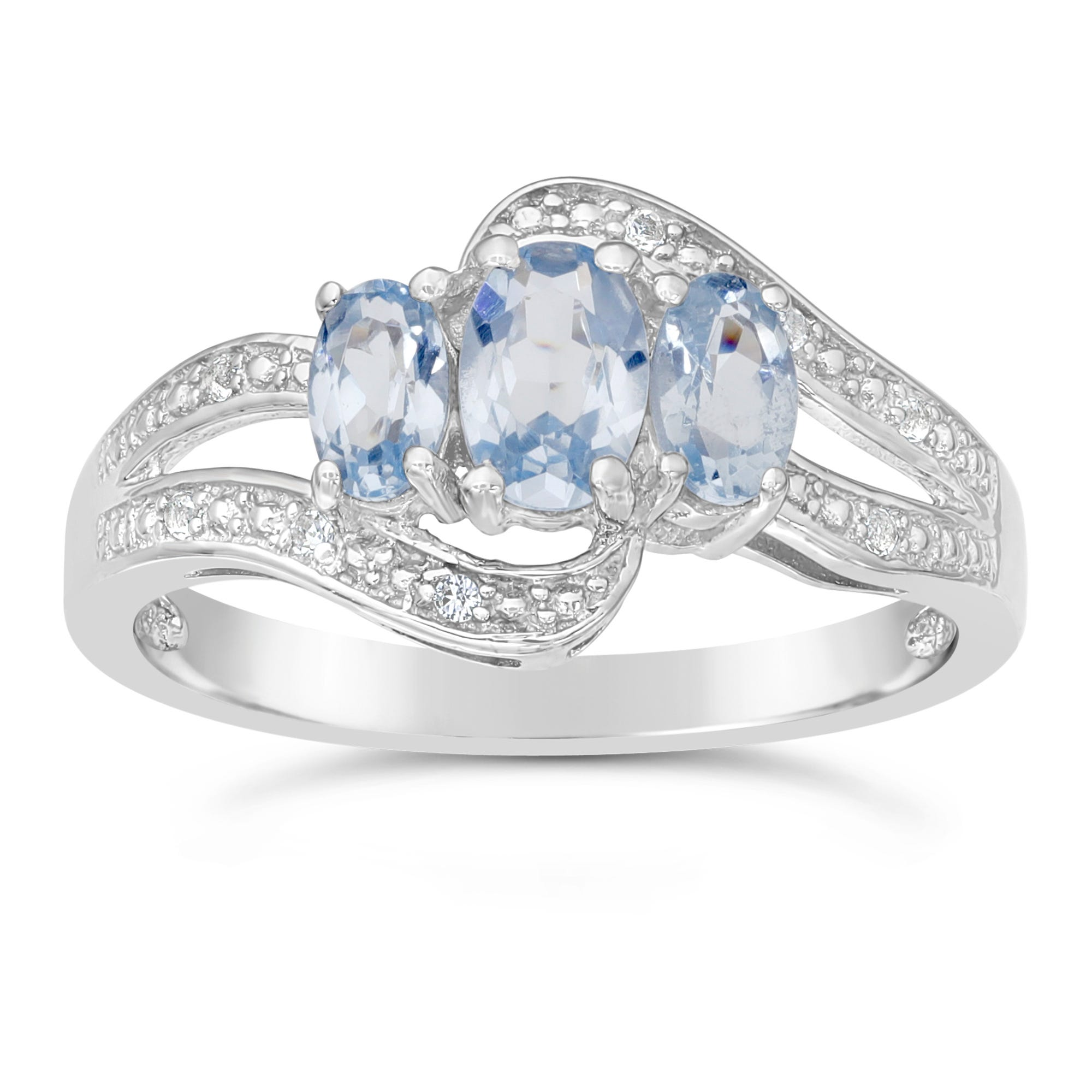 Triple Oval Created Aquamarine and Created White Sapphire Ring in Sterling Silver