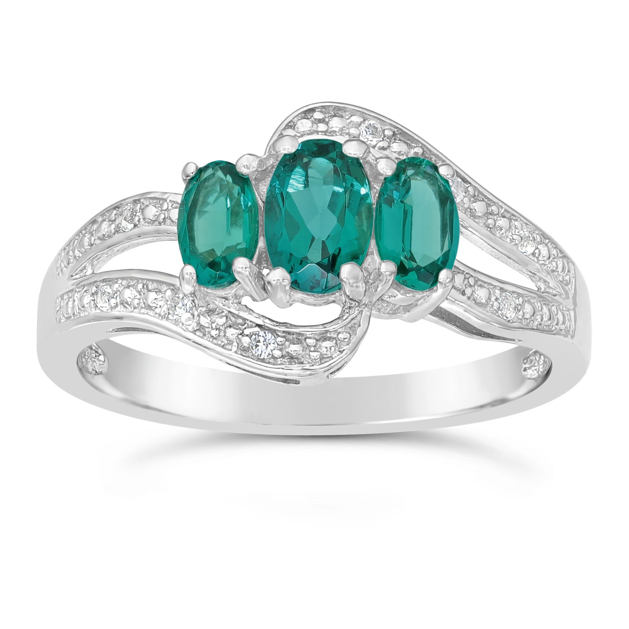 Triple Oval Created Emerald and Created White Sapphire Ring in Sterling Silver
