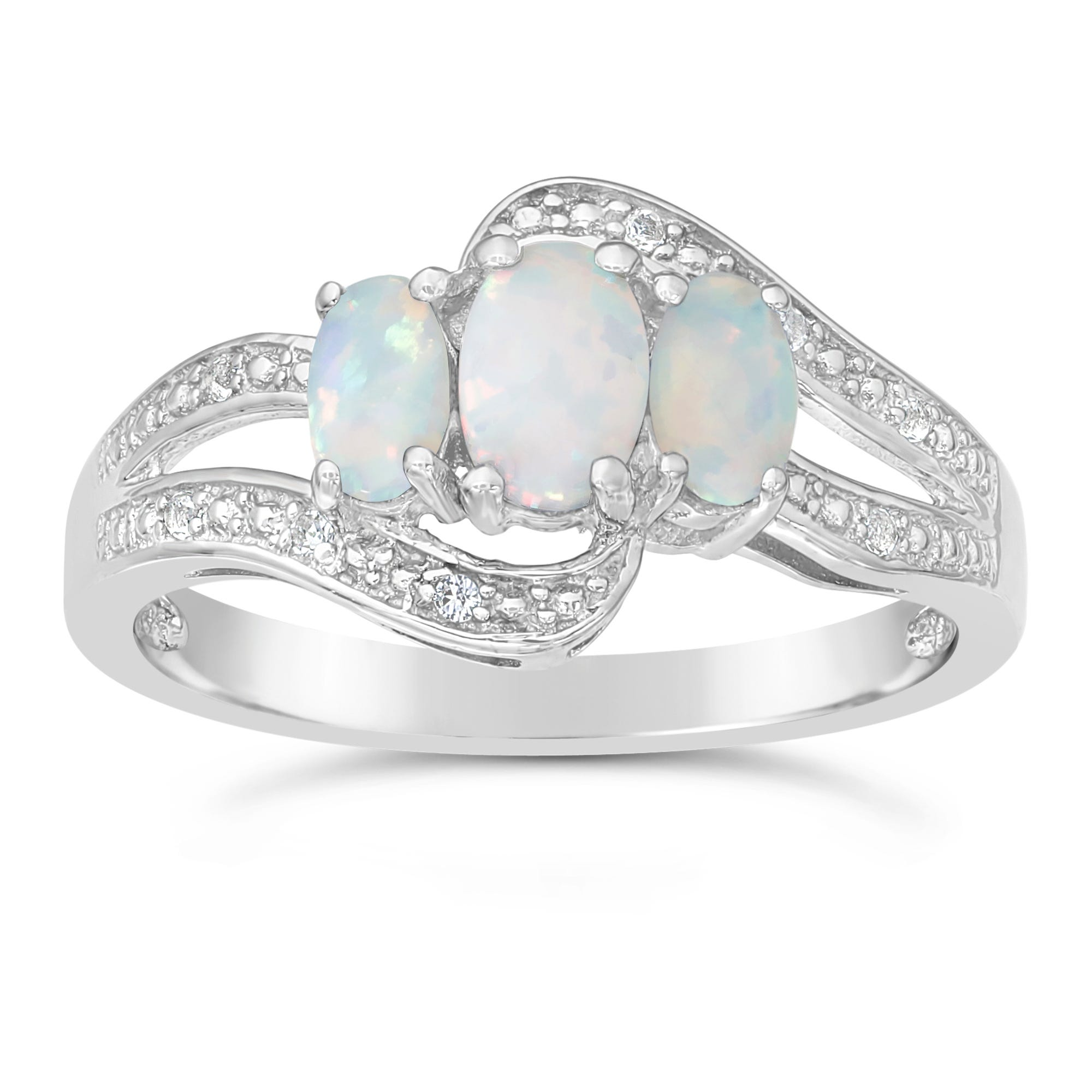 Triple Oval Created Opal and Created White Sapphire Ring in Sterling Silver