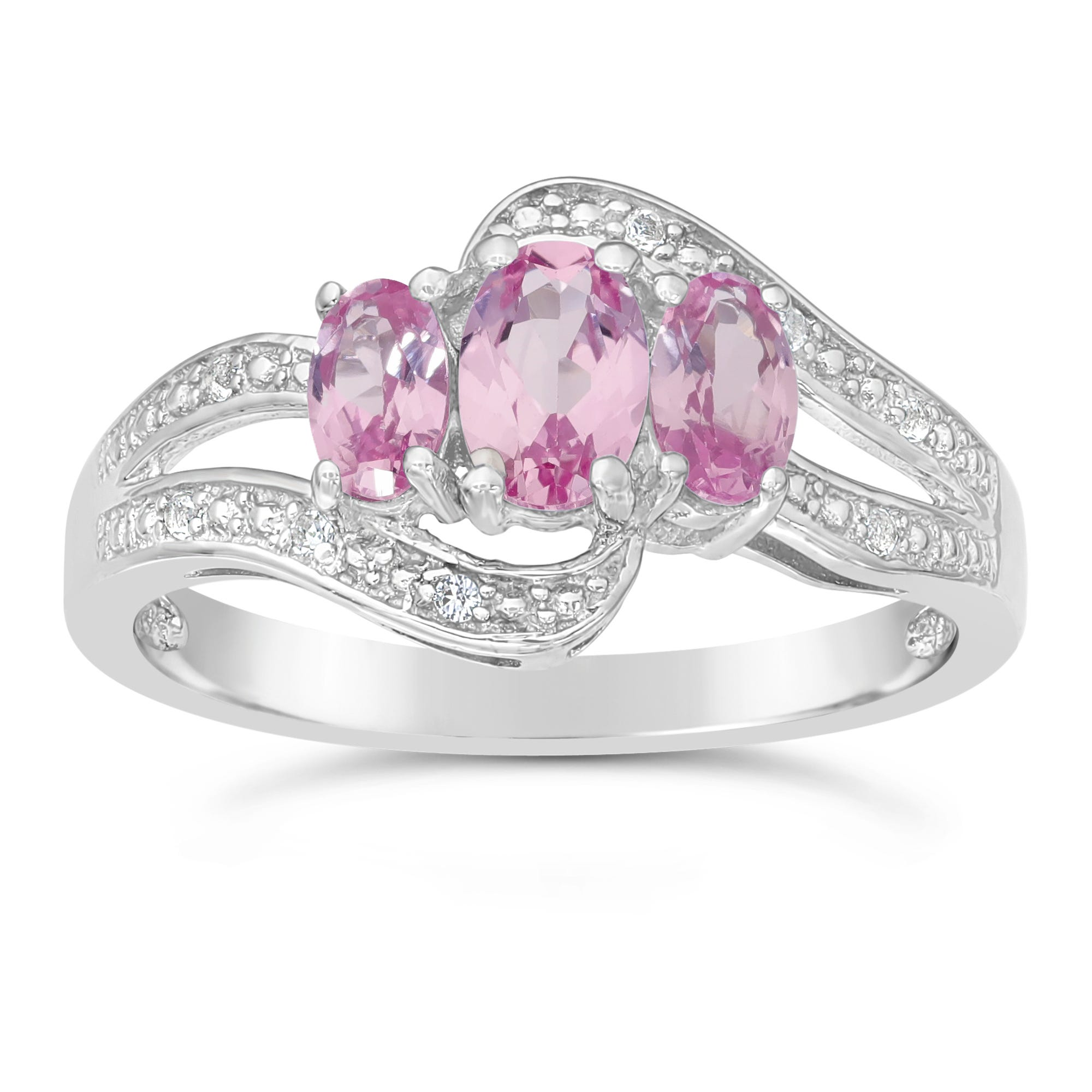 Triple Oval Created Pink Sapphire and Created White Sapphire Ring in Sterling Silver