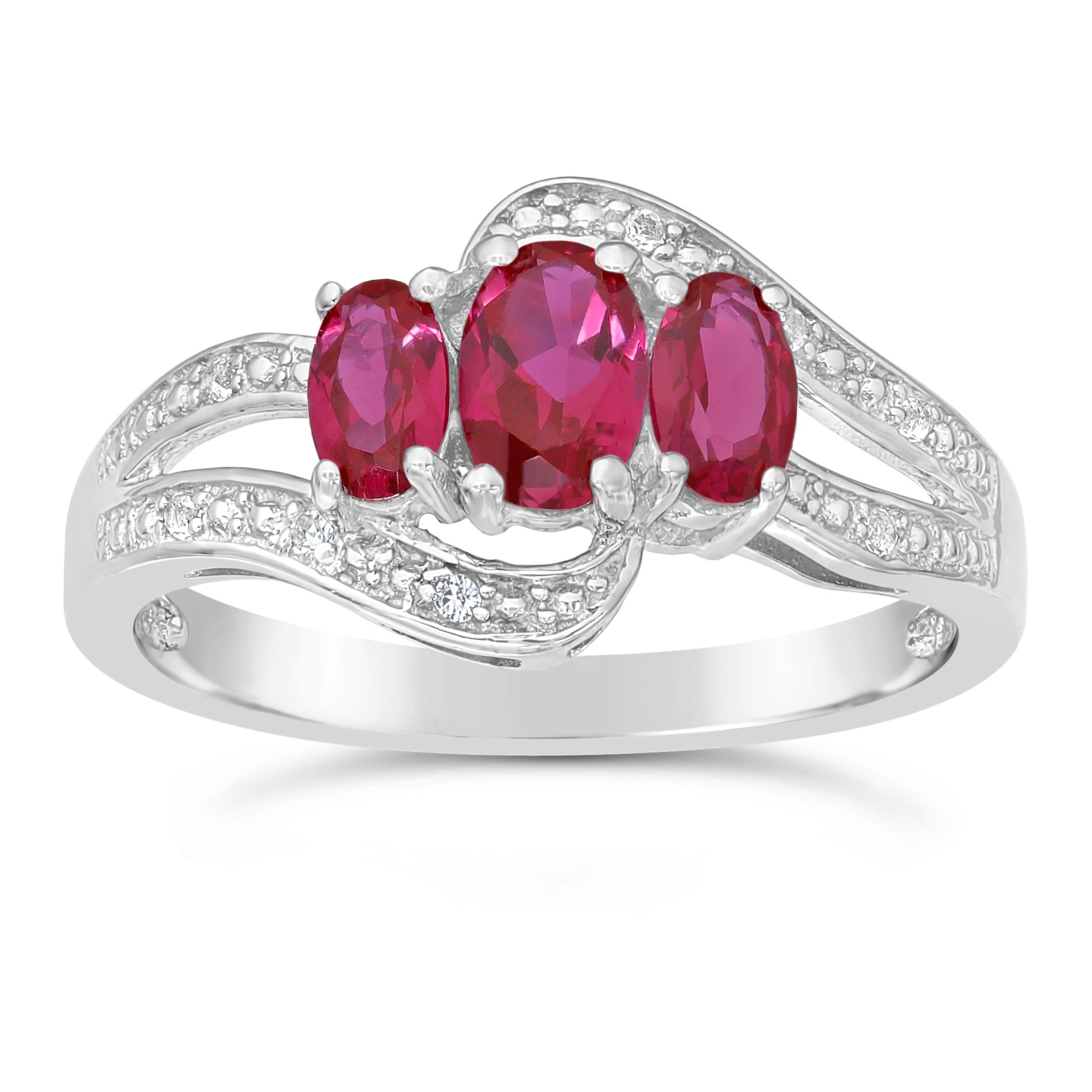 Triple Oval Created Ruby and Created White Sapphire Ring in Sterling Silver