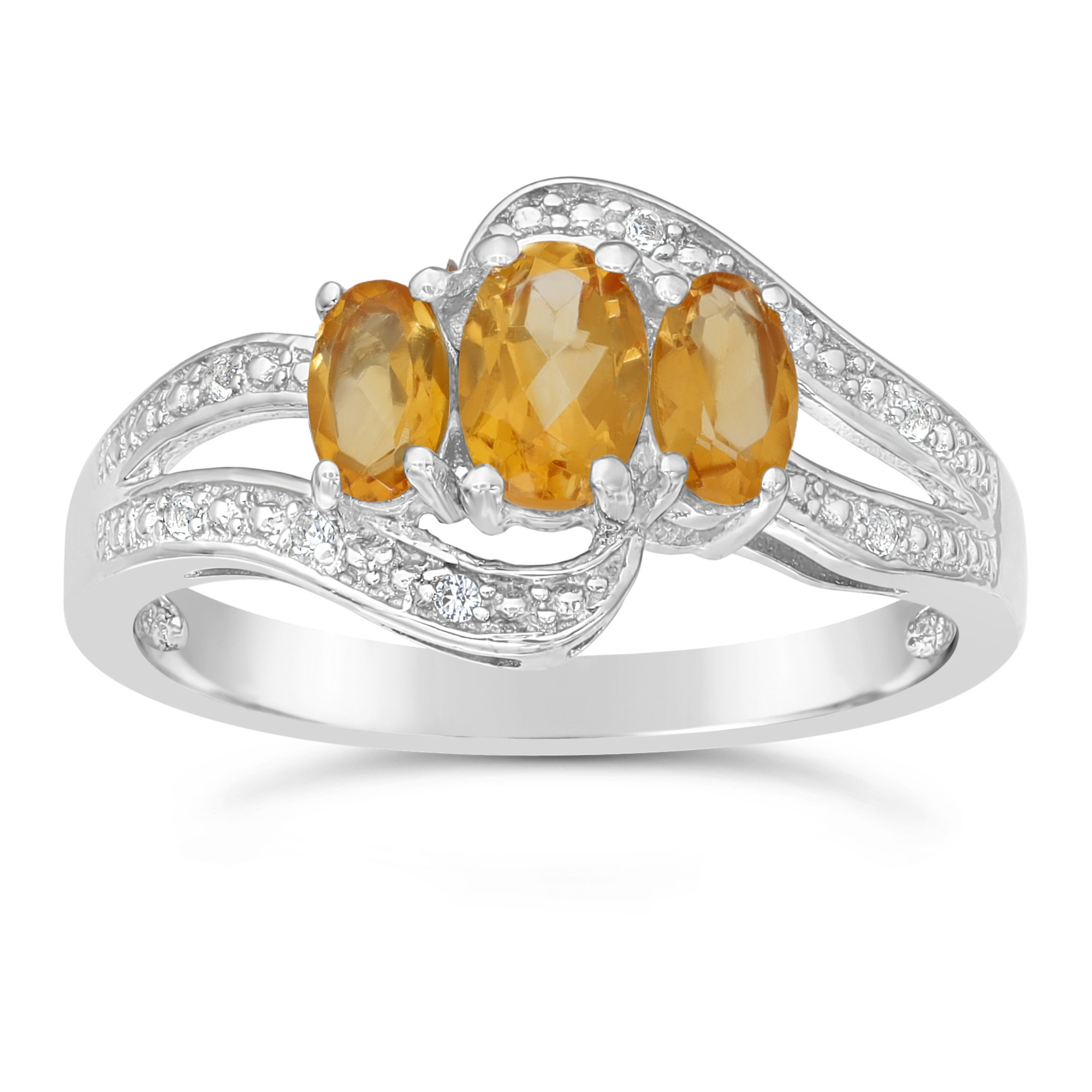 Sterling Silver Oval Citrine And Diamond Ring