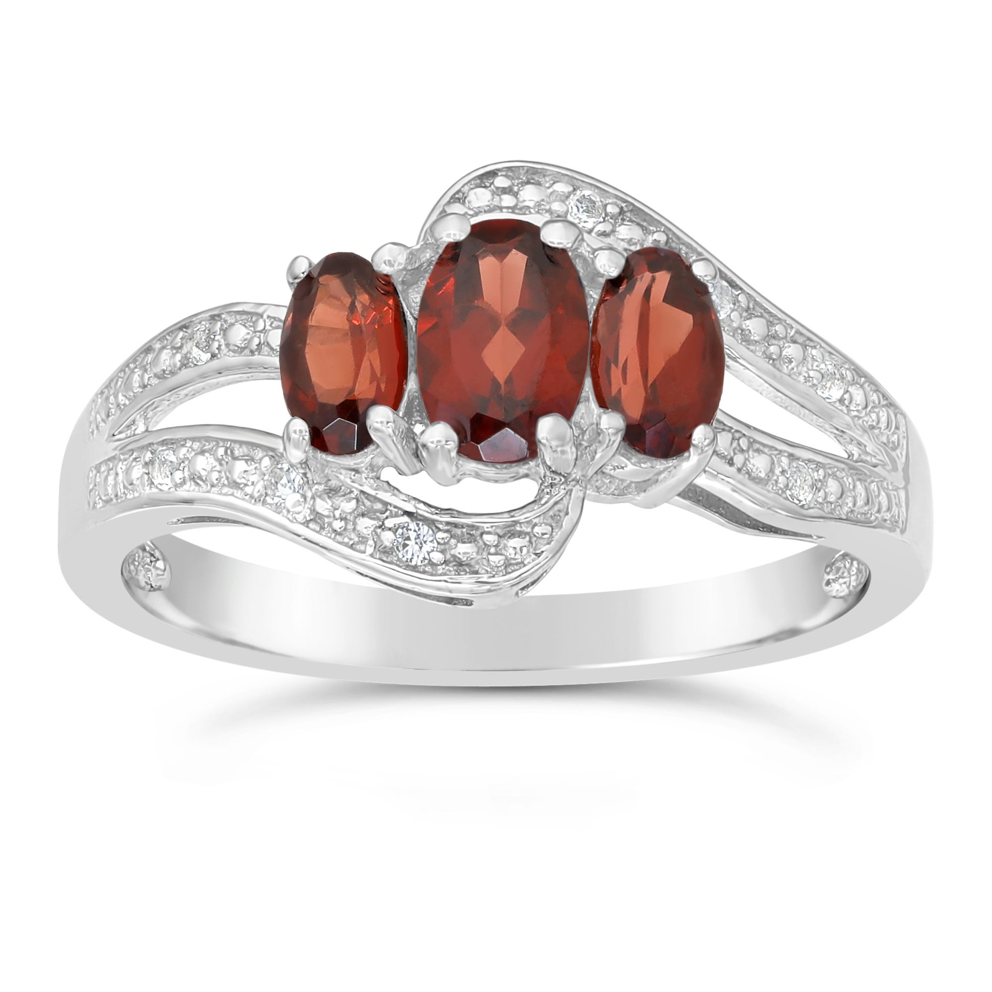 Triple Oval Garnet and White Topaz Ring in Sterling Silver