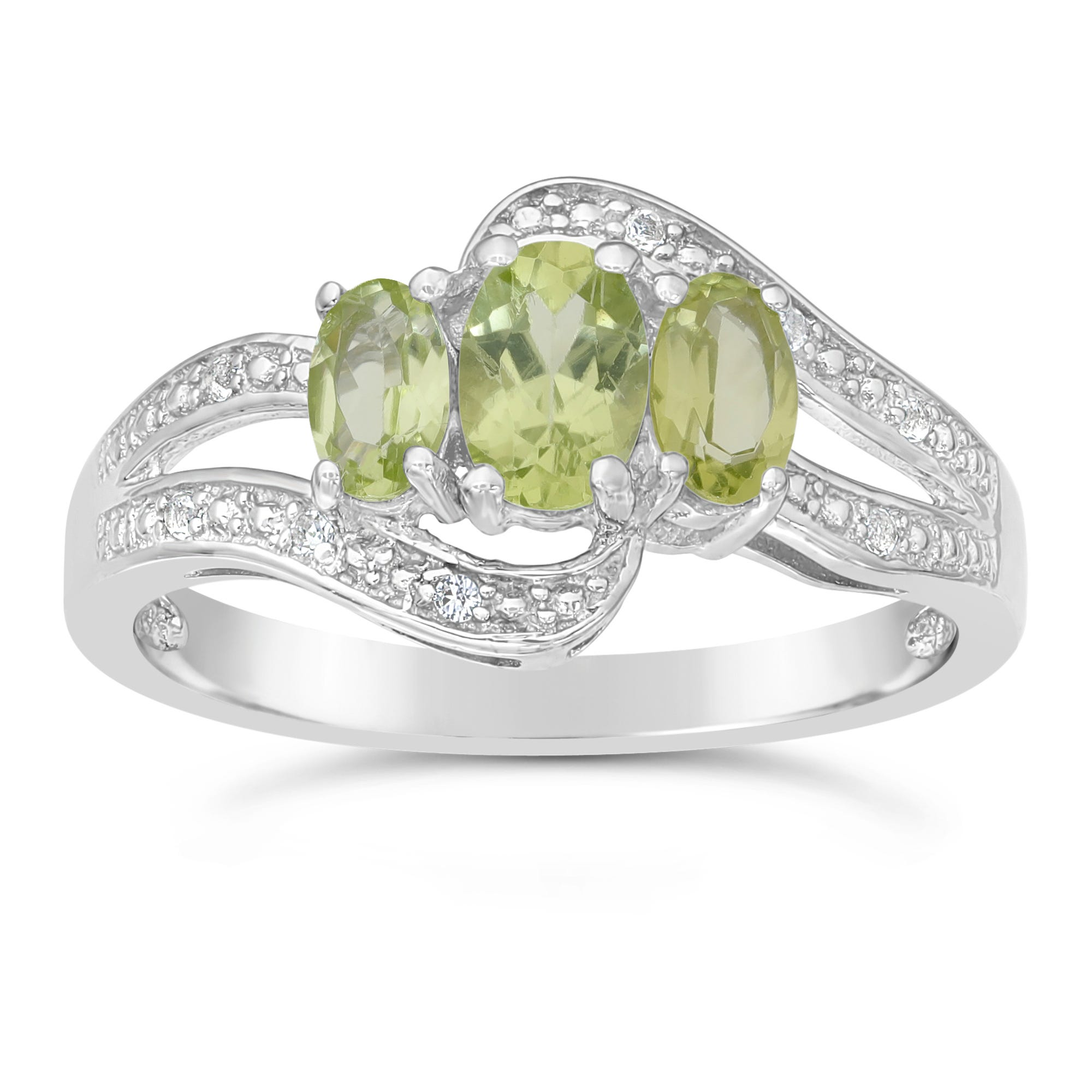 Triple Oval Peridot and White Topaz Ring in Sterling Silver