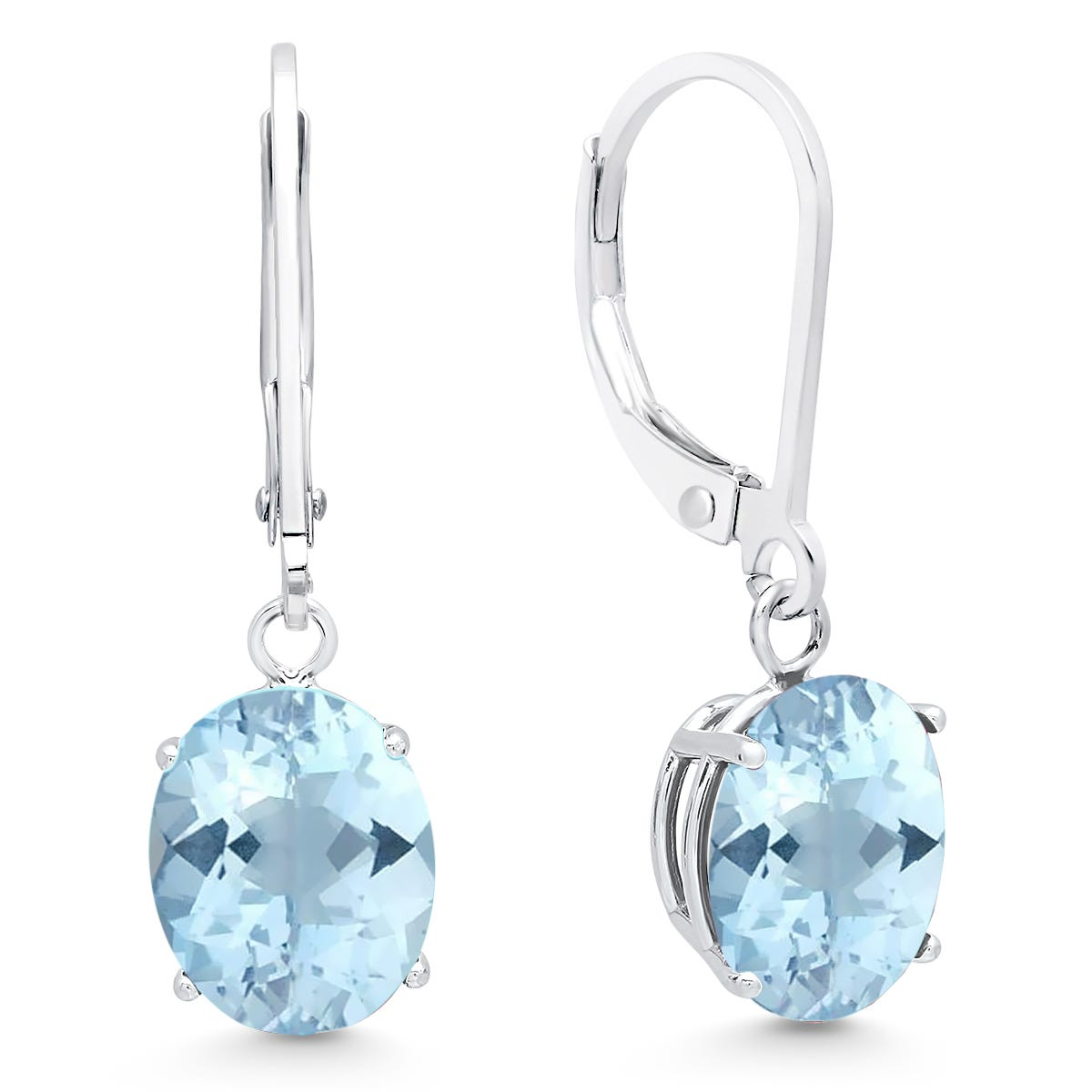 Aquamarine Oval Dangle Leverback Earrings in 14k White Gold