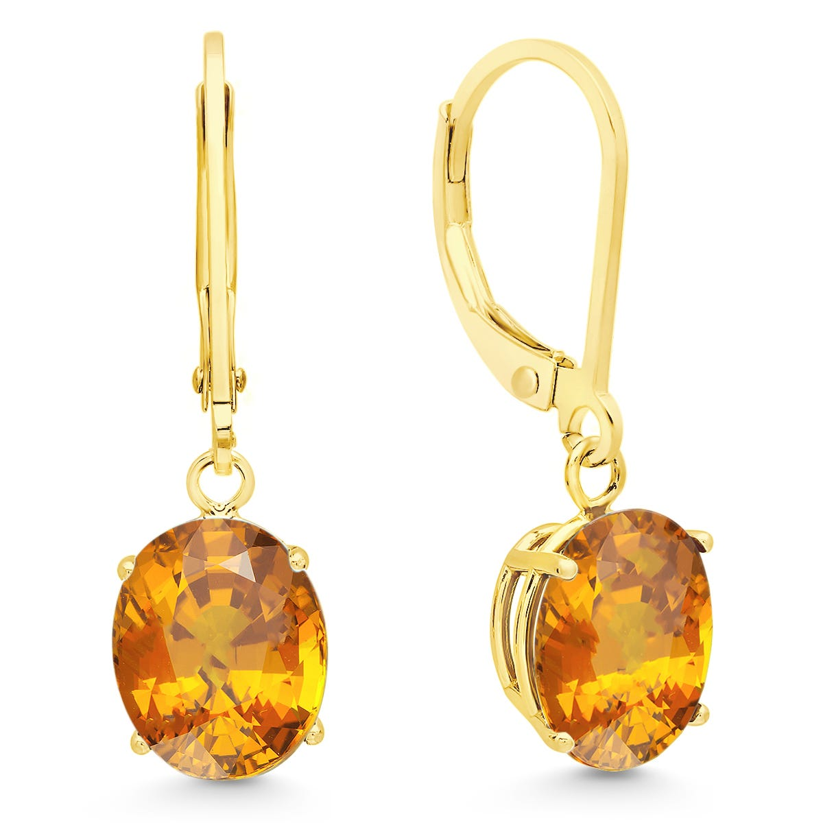 Citrine Oval Dangle Leverback Earrings in 14k Yellow Gold