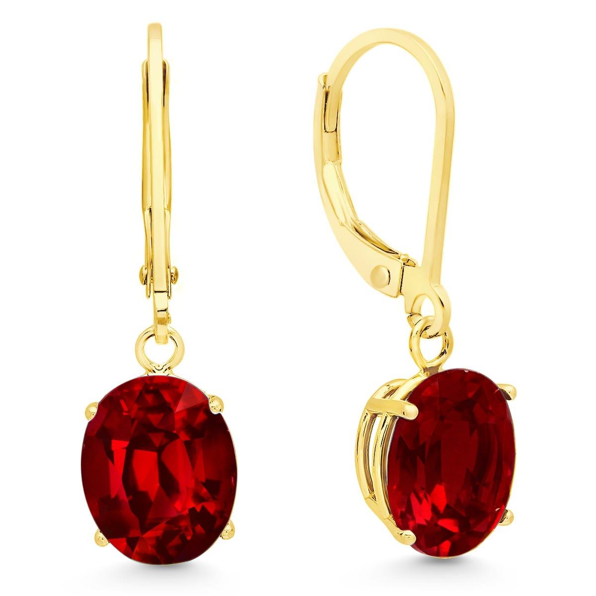 Garnet Oval Dangle Leverback Earrings in 14k Yellow Gold