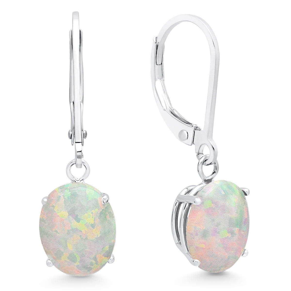 Created Opal Oval Dangle Leverback Earrings in 14k White Gold