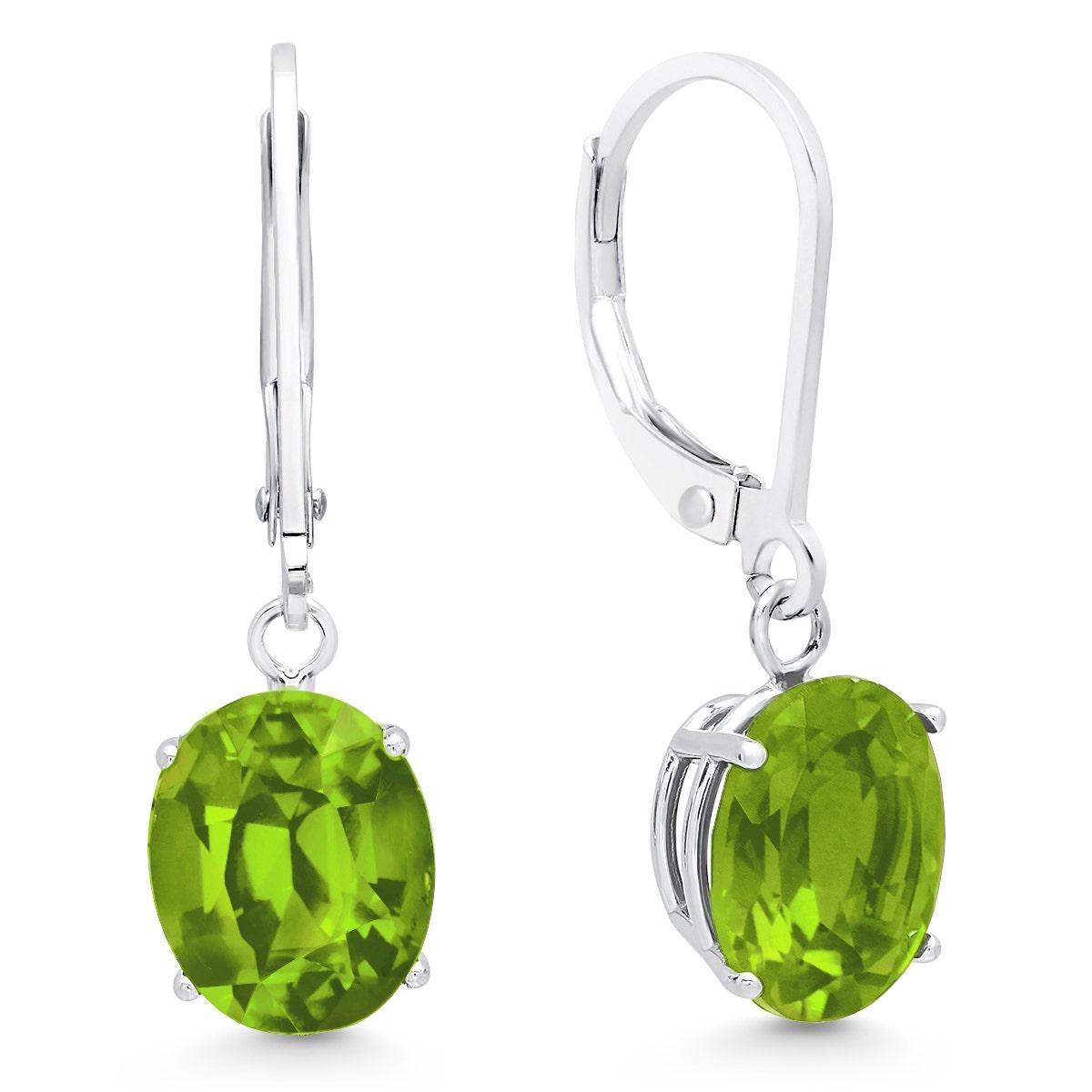 14K White Gold Created Diamond Halo Round Birthstone Dangle Leverback Earrings