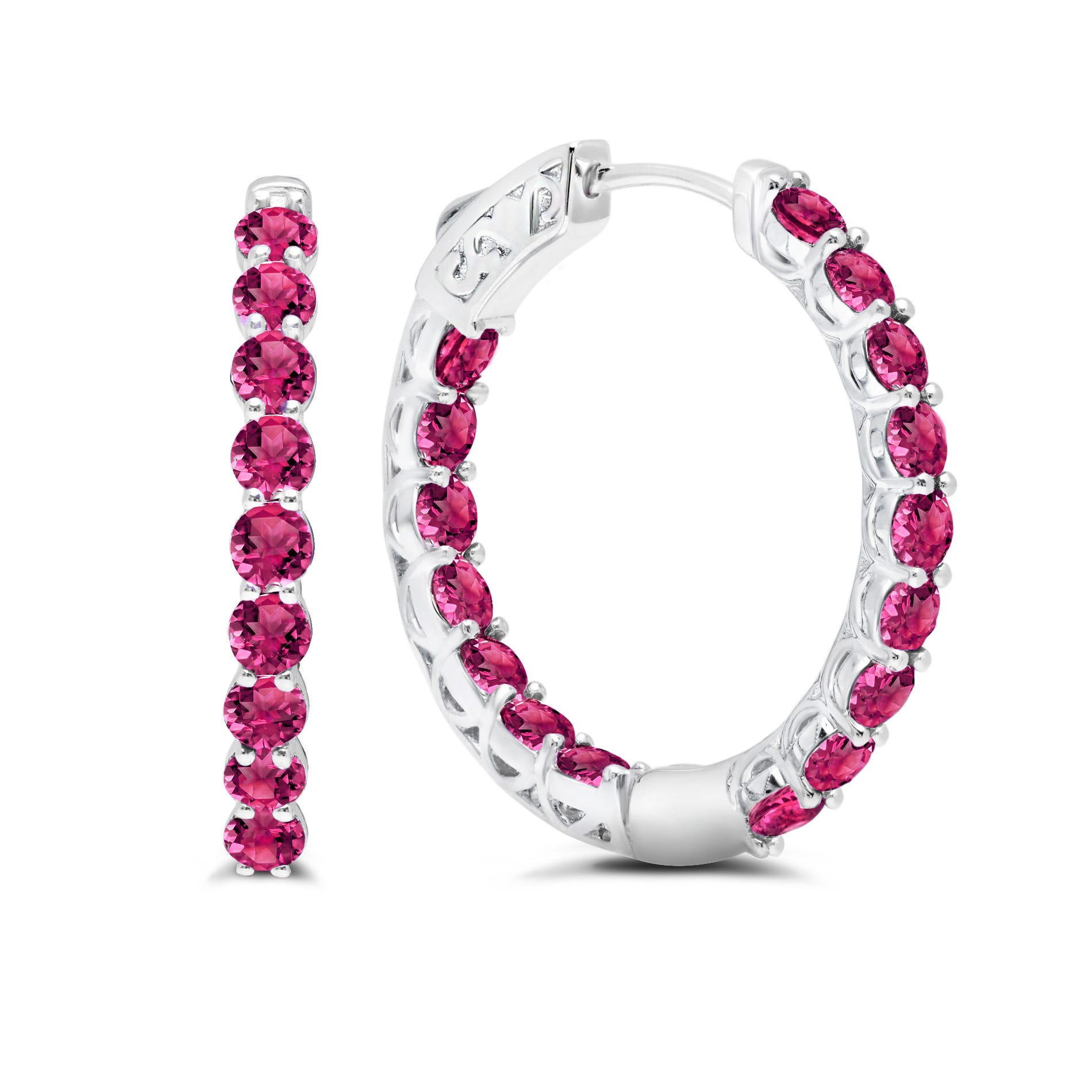 Ruby Inside-Out Hoop Earrings in Sterling Silver