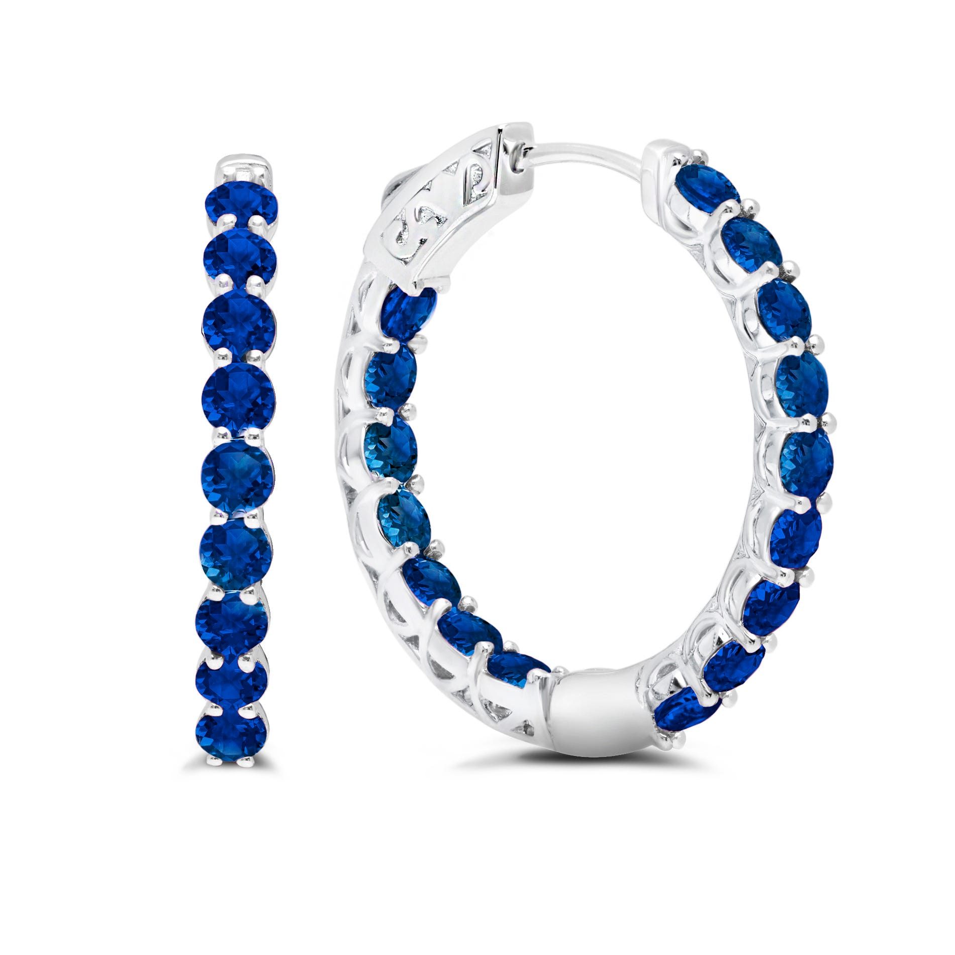 Blue Sapphire Inside-Out Hoop Earrings in Sterling Silver