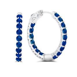 Blue Sapphire Inside-Out Hoop Earrings in Sterling Silver