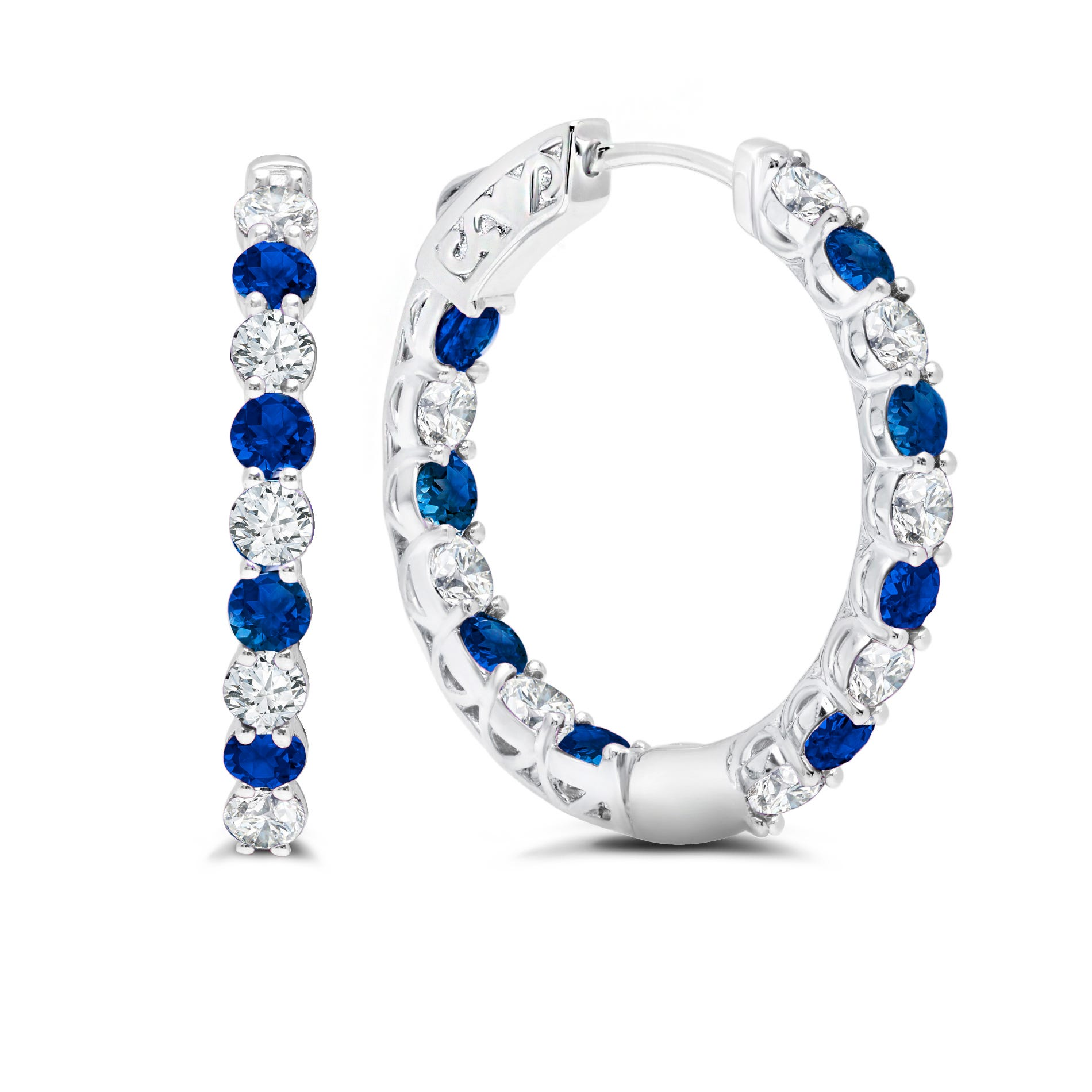 Blue & White Sapphire Inside-Out Hoop Earrings in Sterling Silver