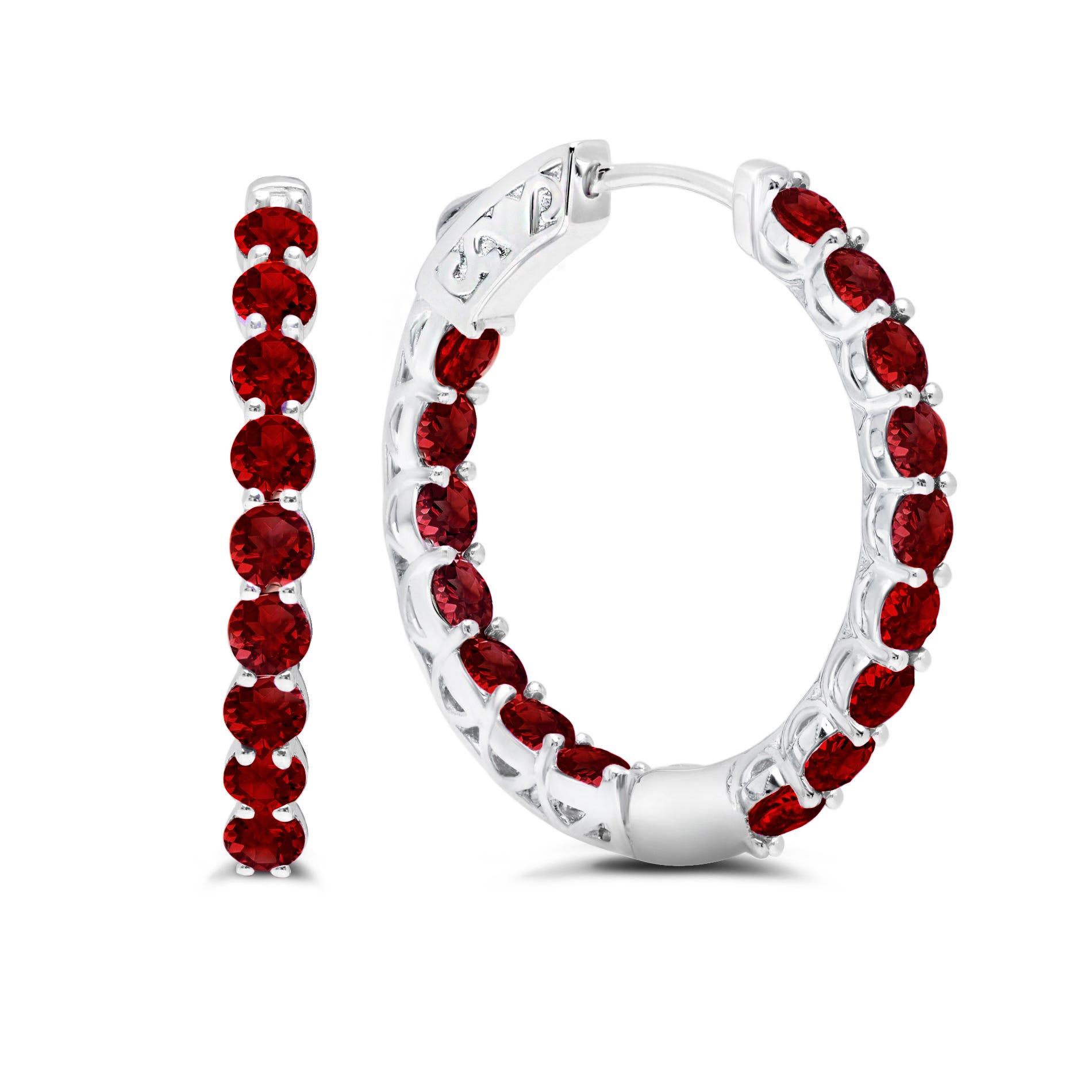 Garnet Inside-Out Hoop Earrings in Sterling Silver