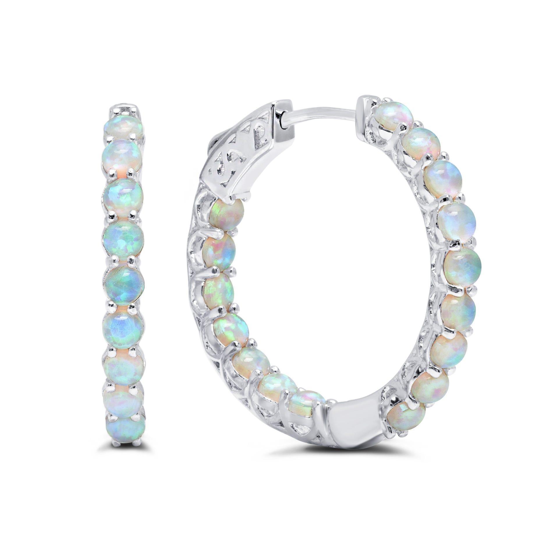 Created Opal Inside-Out Hoop Earrings in Sterling Silver