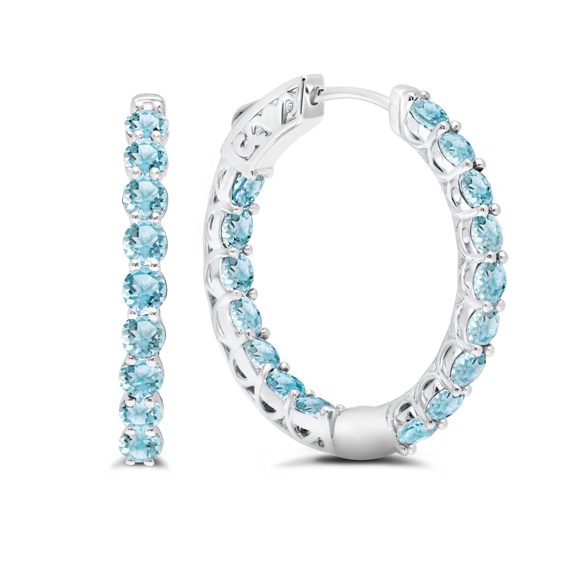 Blue Topaz Inside-Out Hoop Earrings in Sterling Silver