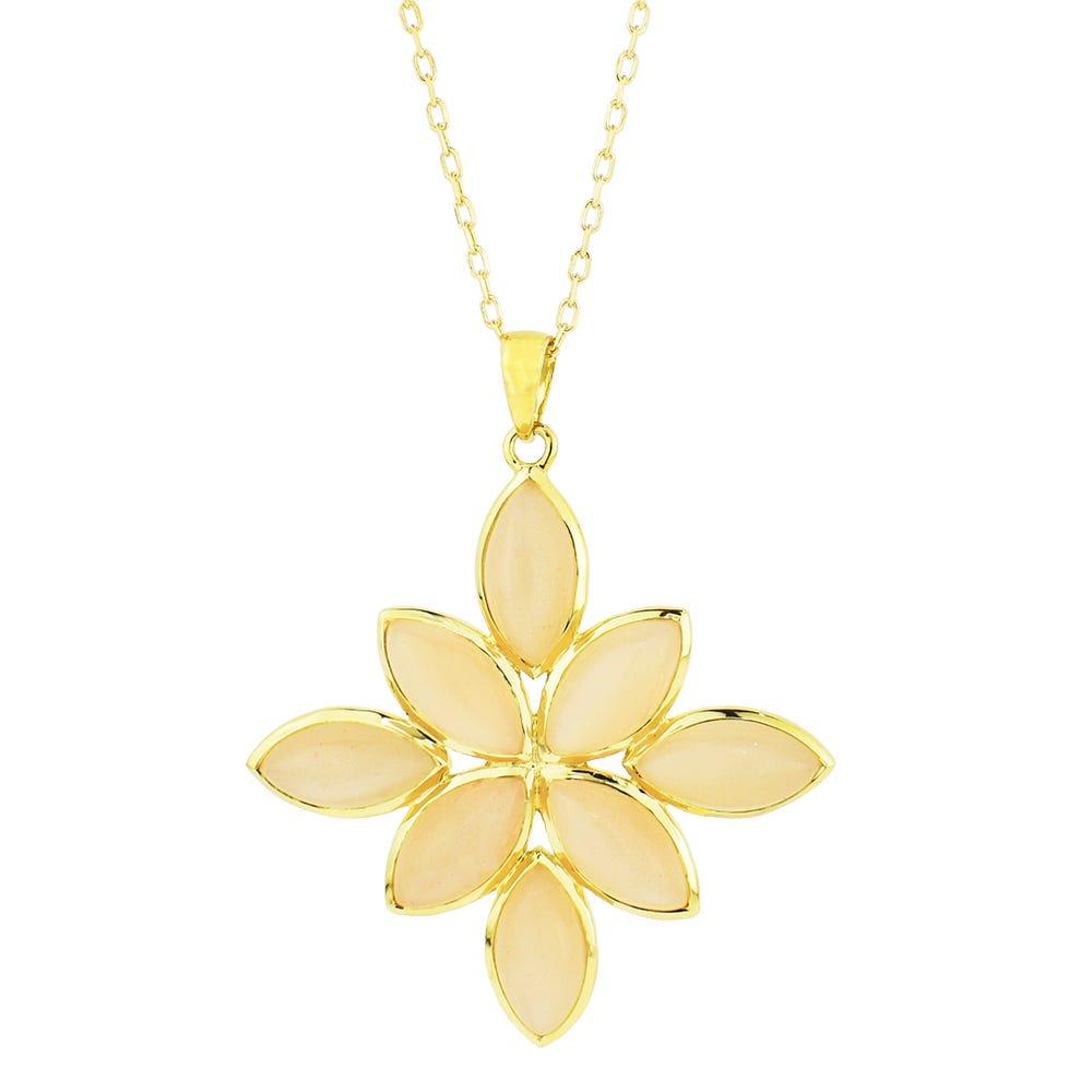 Peach Moonstone Lotus Flower Pendant in 14k Yellow Gold