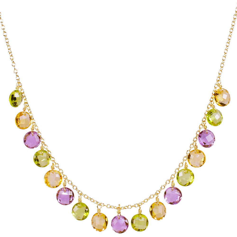 Multi-Gem Crystal Coin Dangle Fashion Necklace in 14k Yellow Gold