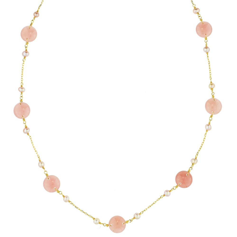 Pink Pearl Guava Quartz Station Necklace in 14k Yellow Gold