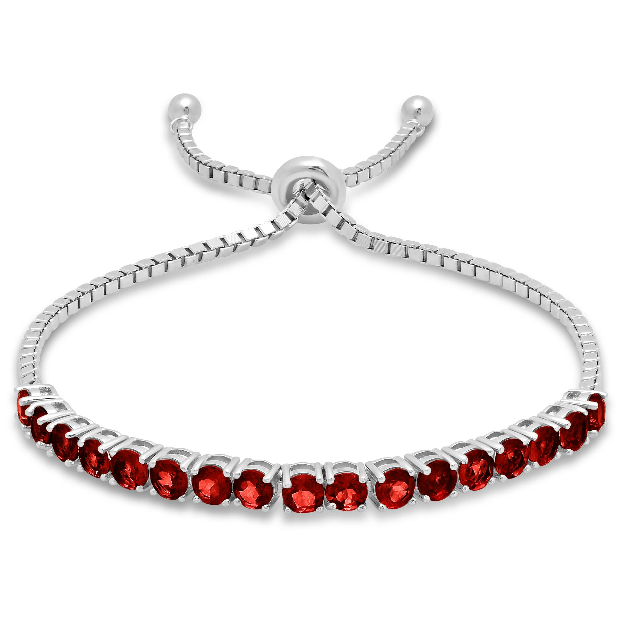 Garnet Adjustable Bolo Bracelet in Sterling Silver