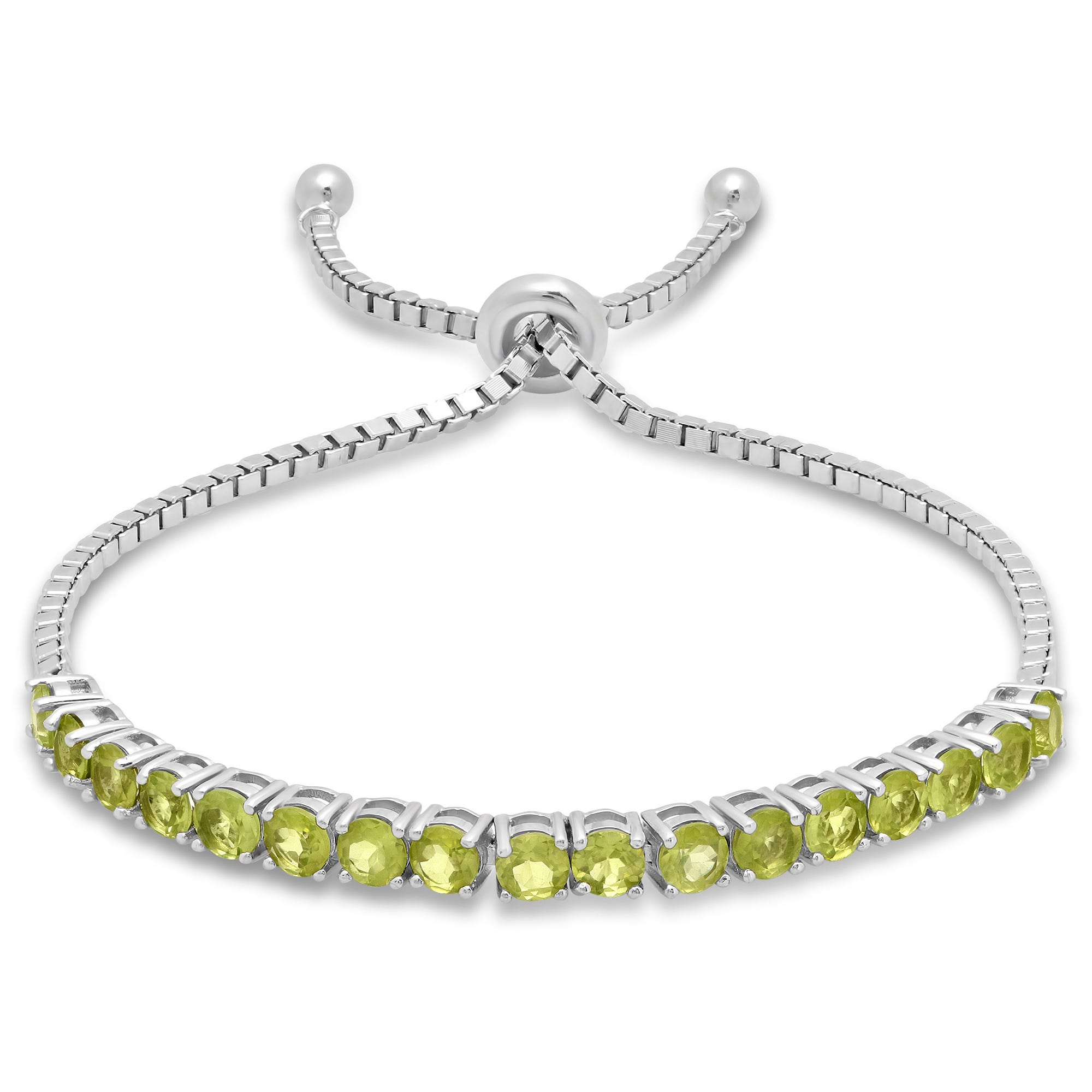 Peridot Adjustable Bolo Bracelet in Sterling Silver