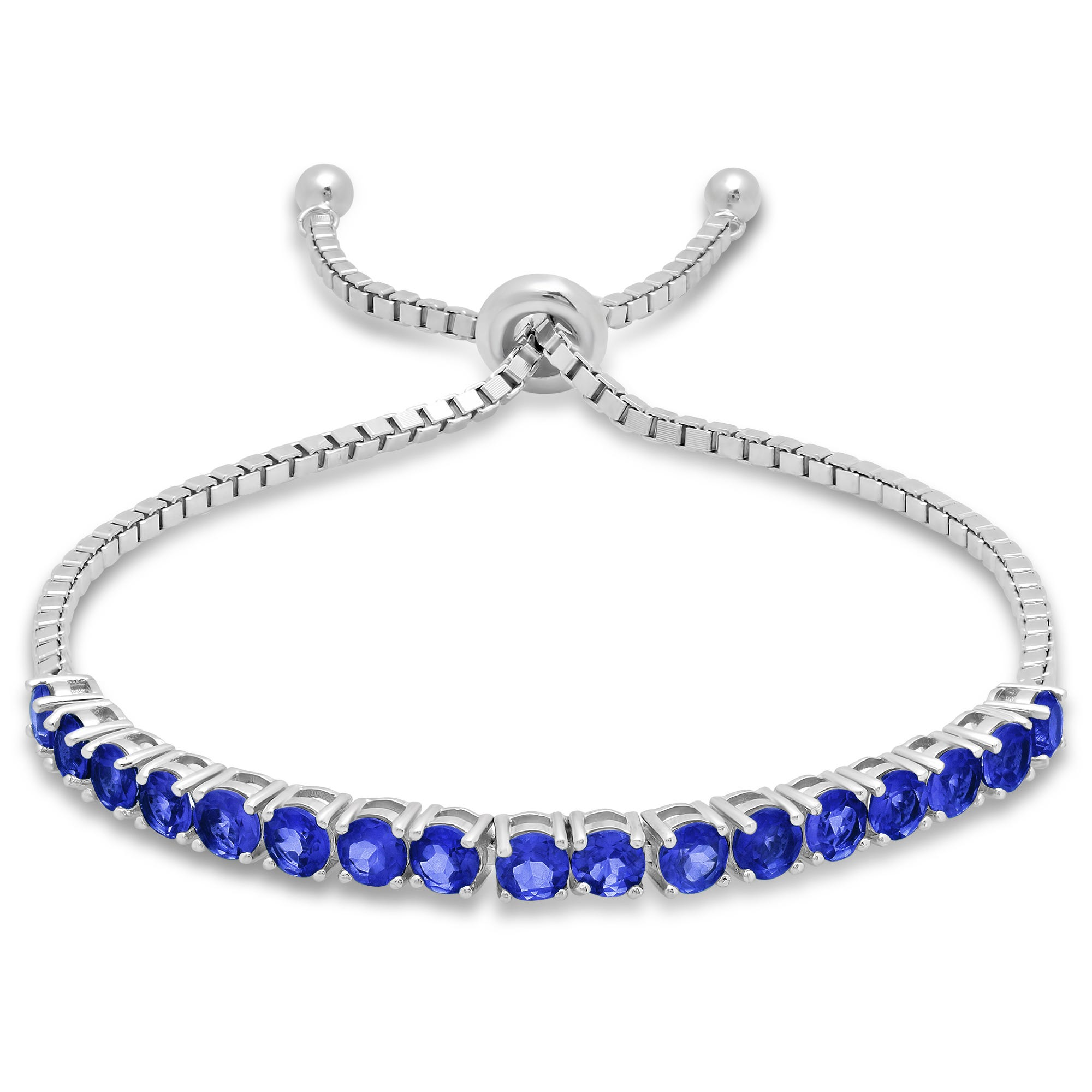 Blue Sapphire Adjustable Bolo Bracelet in Sterling Silver