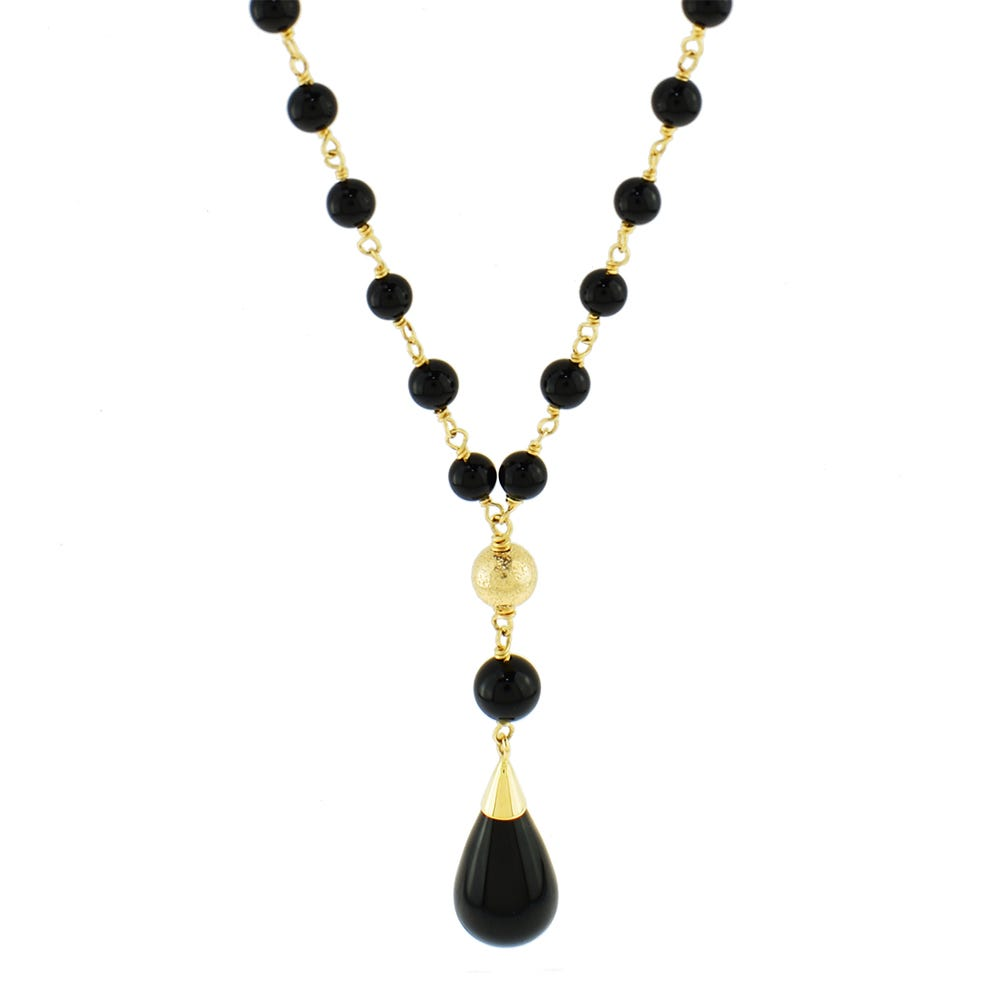 Black Onyx Lariat Fashion Necklace in 14k Yellow Gold