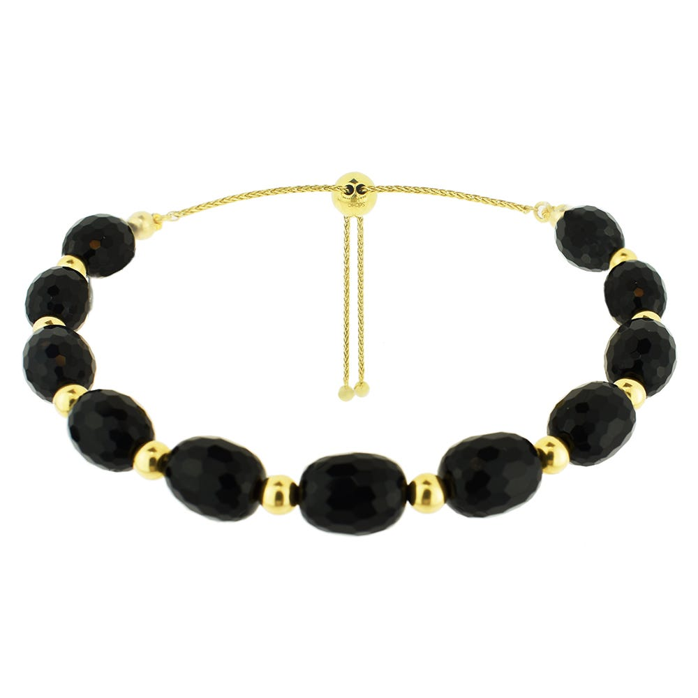 Black Onyx Oval Bolo Bracelet in 14k Yellow Gold
