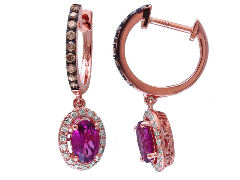 Oval Rhodalite Garnet & Brown/White Diamond Earrings in 14k Rose Gold