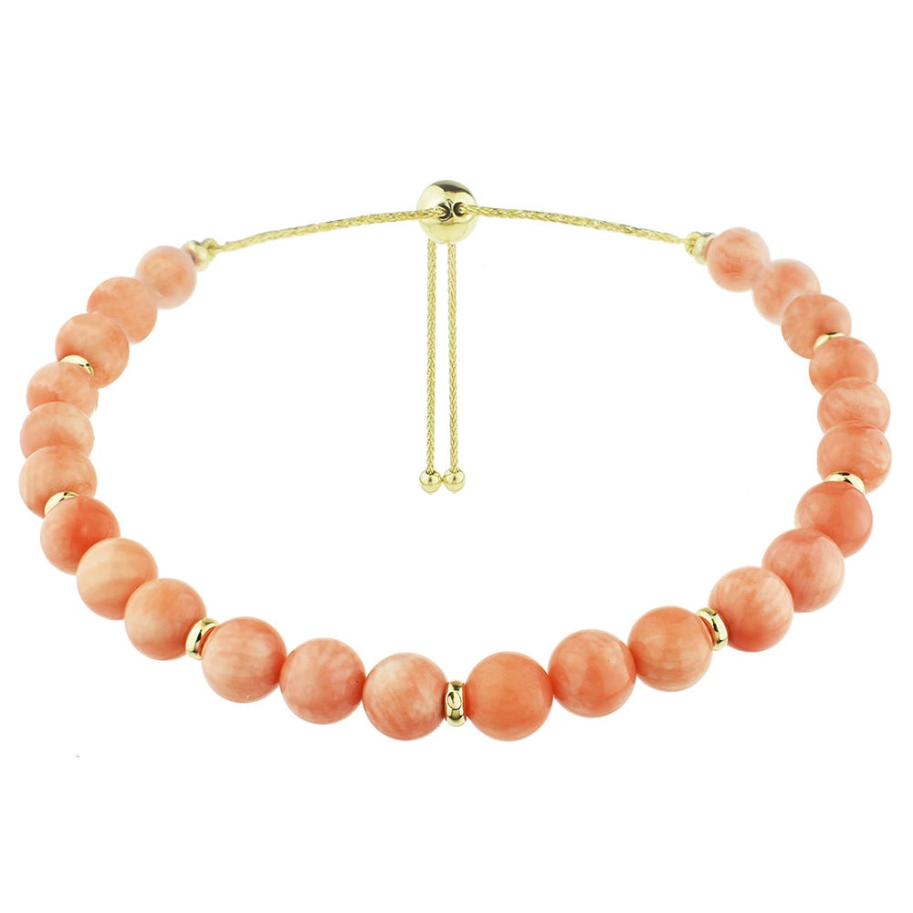 Peach Angel Coral Bolo Bracelet in 14k Yellow Gold