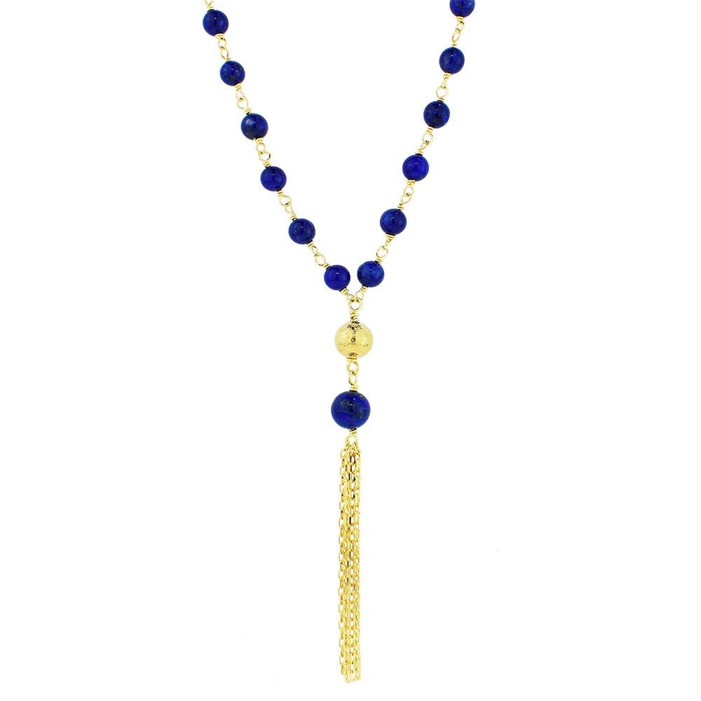 Lariat Fashion Blue Lapis Gemstone Gold Tassel Necklace in 14k Yellow Gold