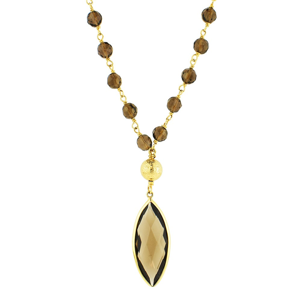 Smokey Quartz Marquise Fashion Gemstone Necklace in 14k Yellow Gold