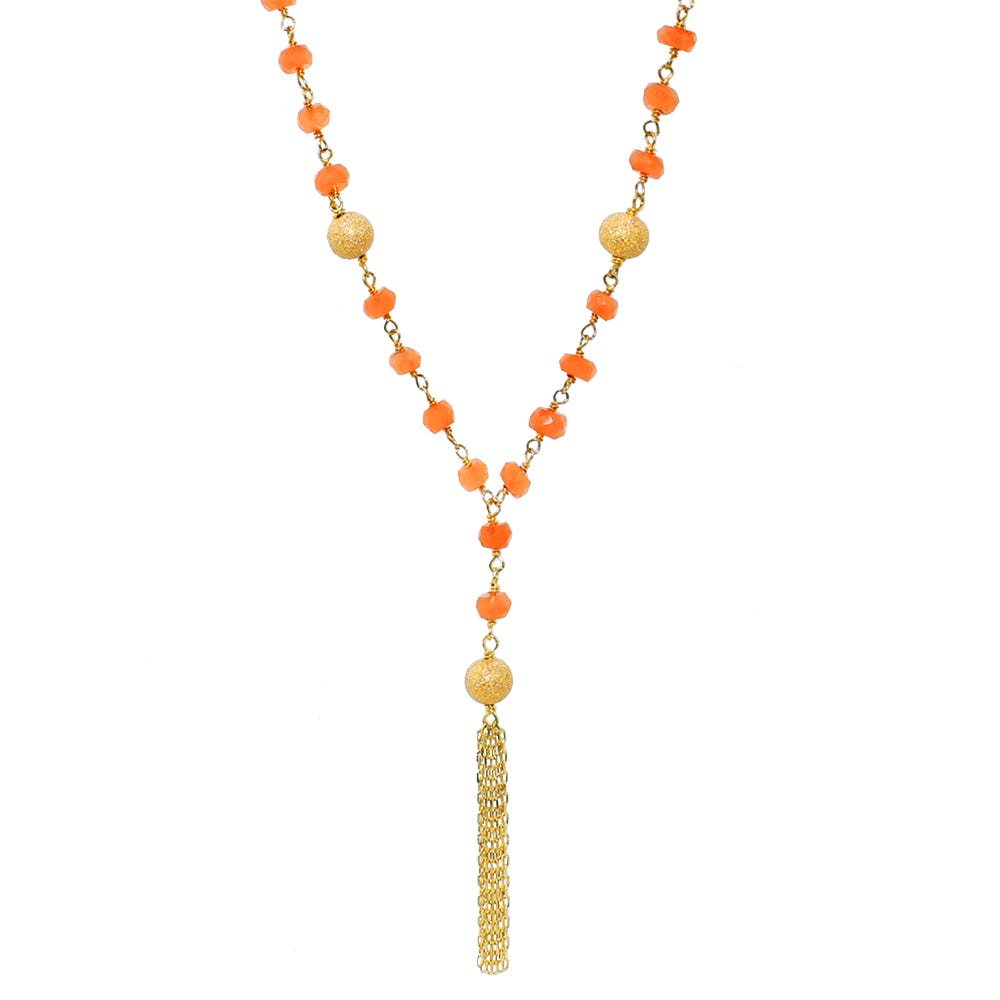 Peach Moonstone Lariat Gemstone Fashion Necklace in 14k Yellow Gold