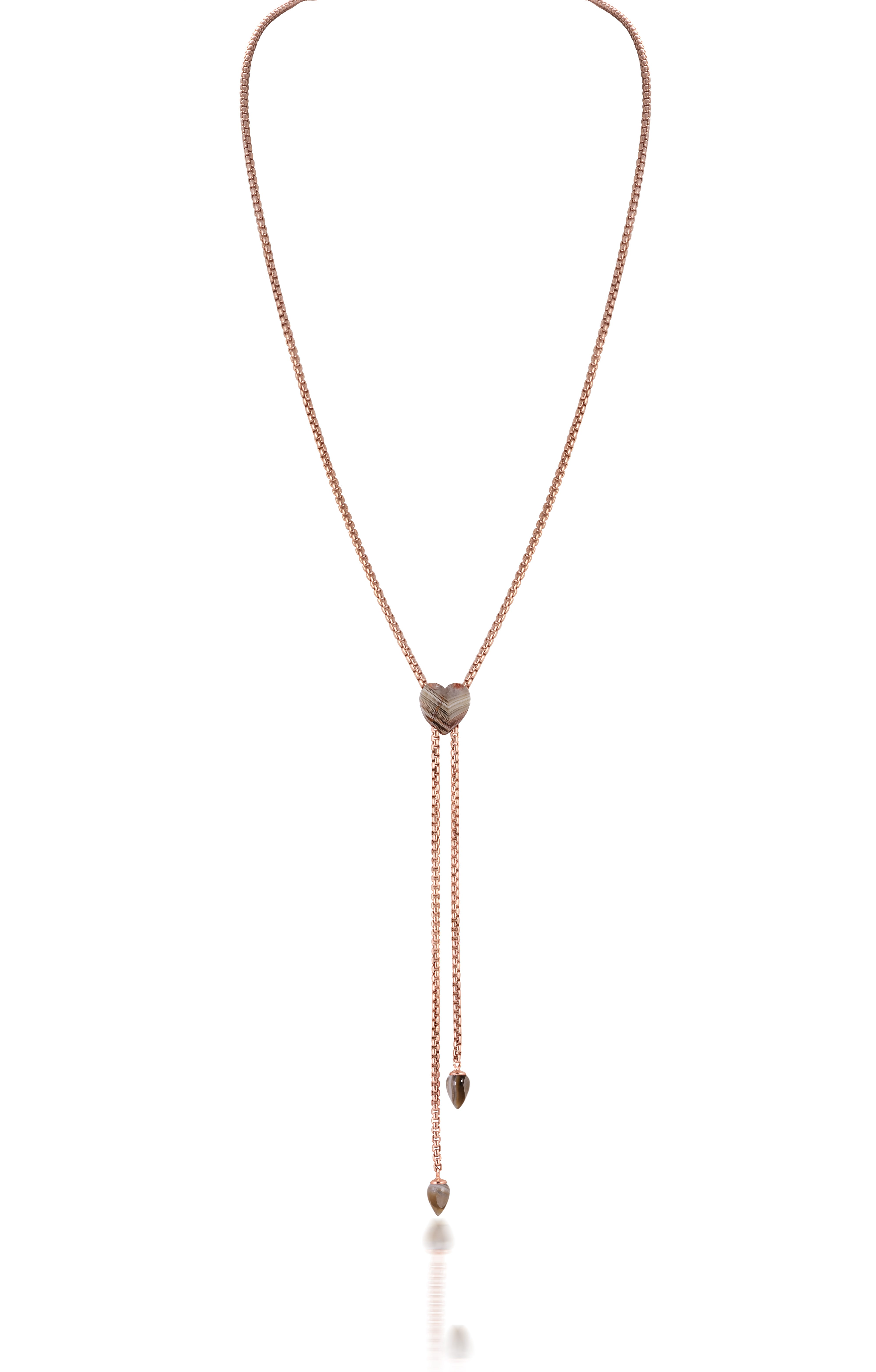 Lace Agate Adjustable Necklace in Sterling Silver & 14k Rose Gold Plating