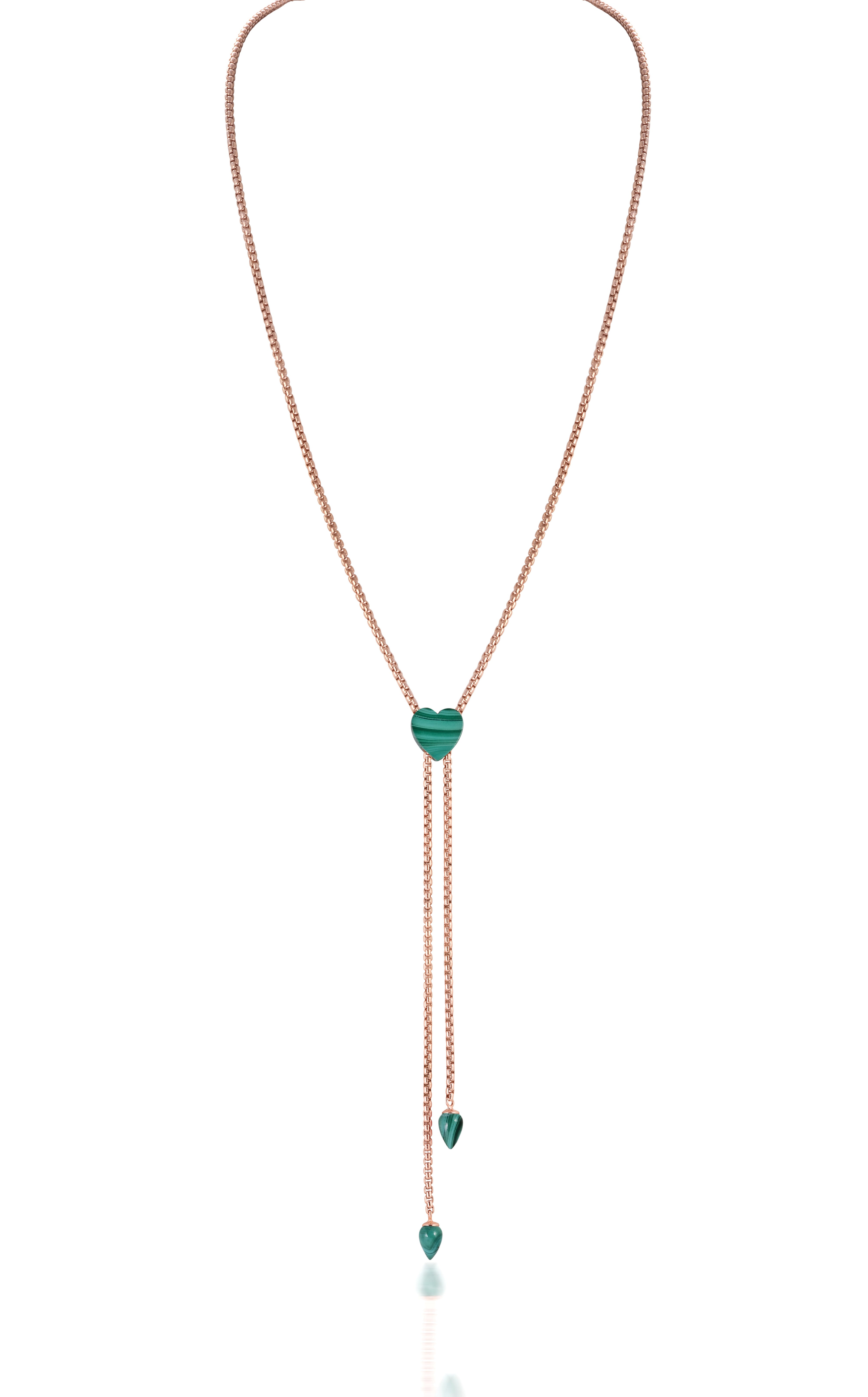 Malachite Adjustable Necklace in Sterling Silver & 14k Rose Gold Plating