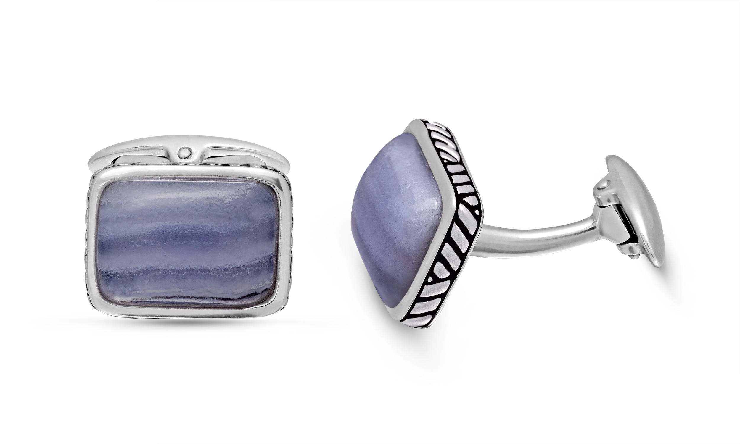 Blue Lace Agate Stone Cufflinks in Sterling Silver & Black Rhodium