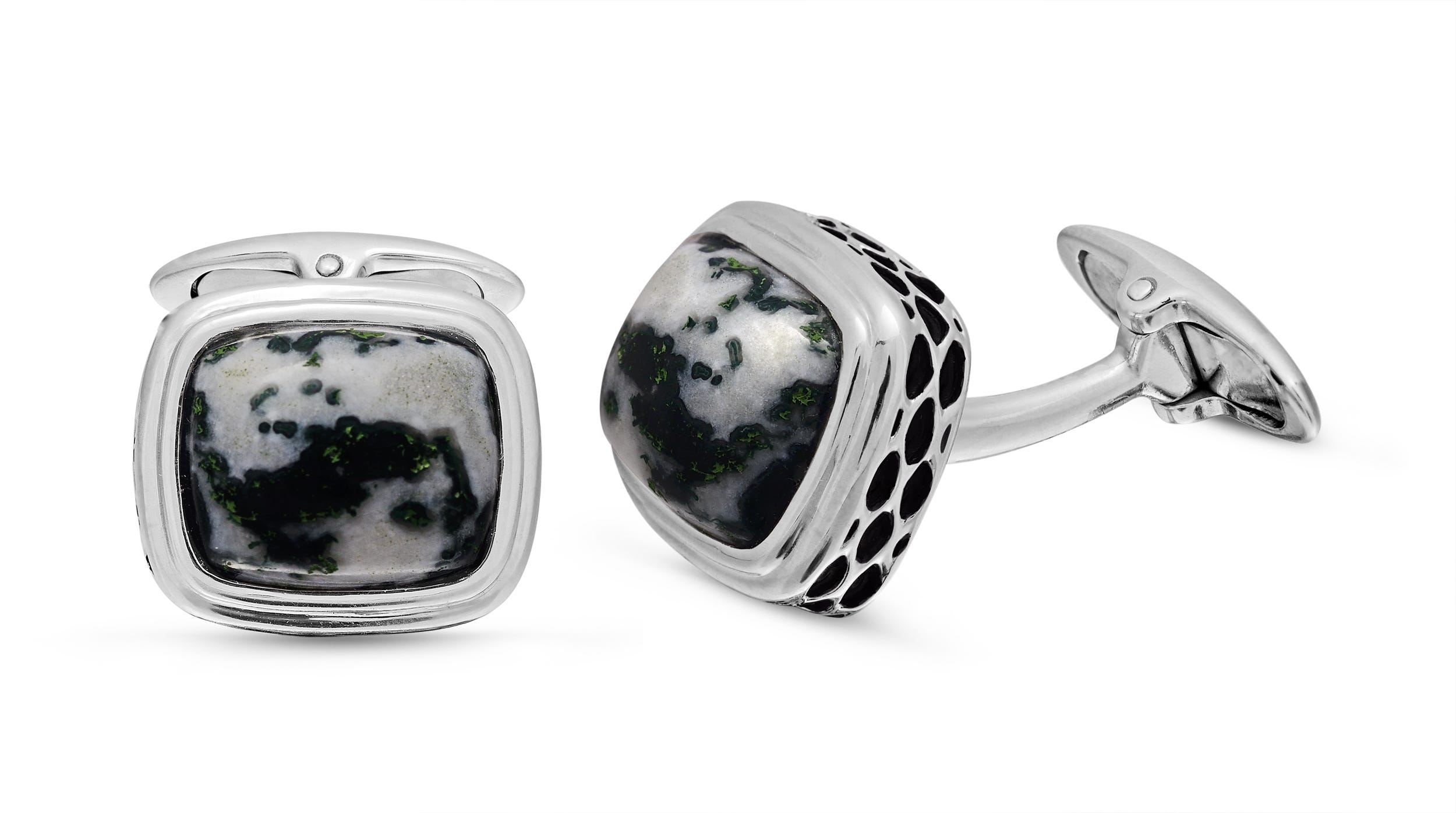 Tree Agate Stone Cufflinks in Sterling Silver & Black Rhodium