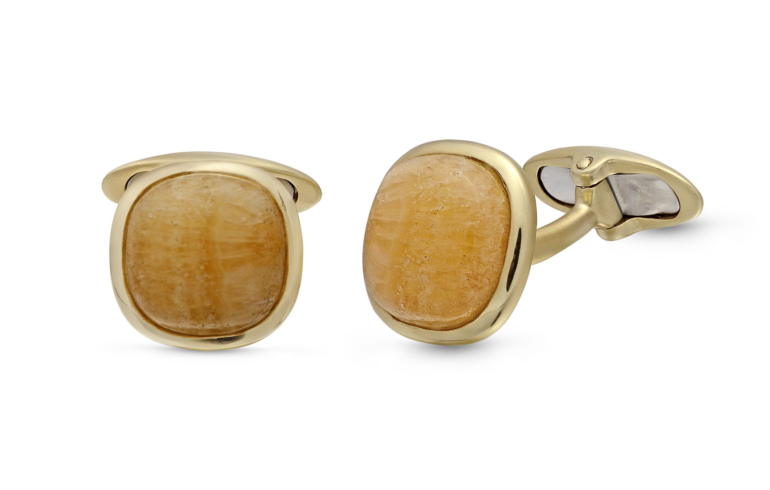 Yellow Lace Agate Stone Cufflinks in Sterling Silver & 14k Yellow Gold Plating